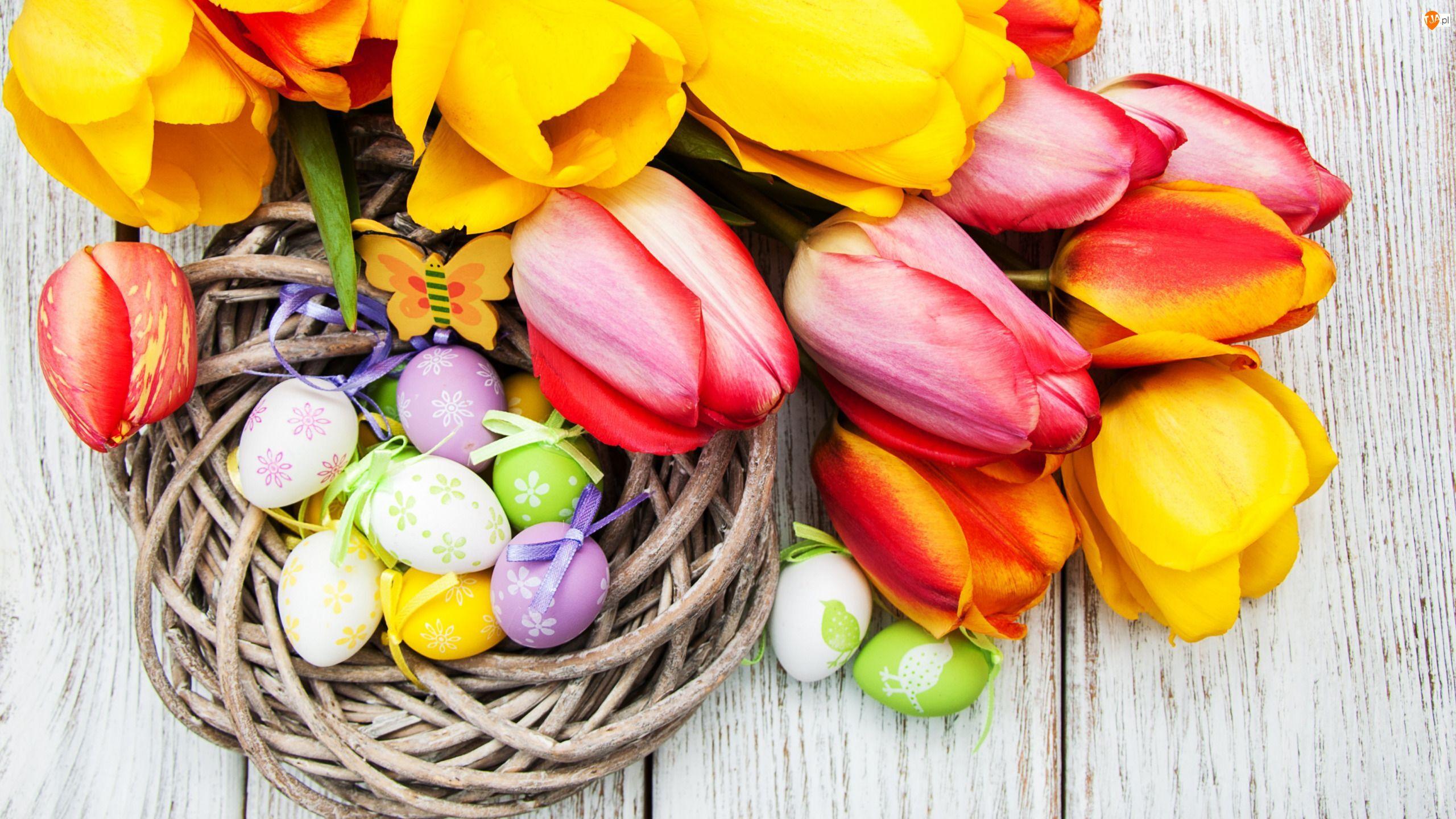 Motylek, Kwiaty, Pisanki, Deski, Tulipany, Jajka, Wielkanoc, Koszyk