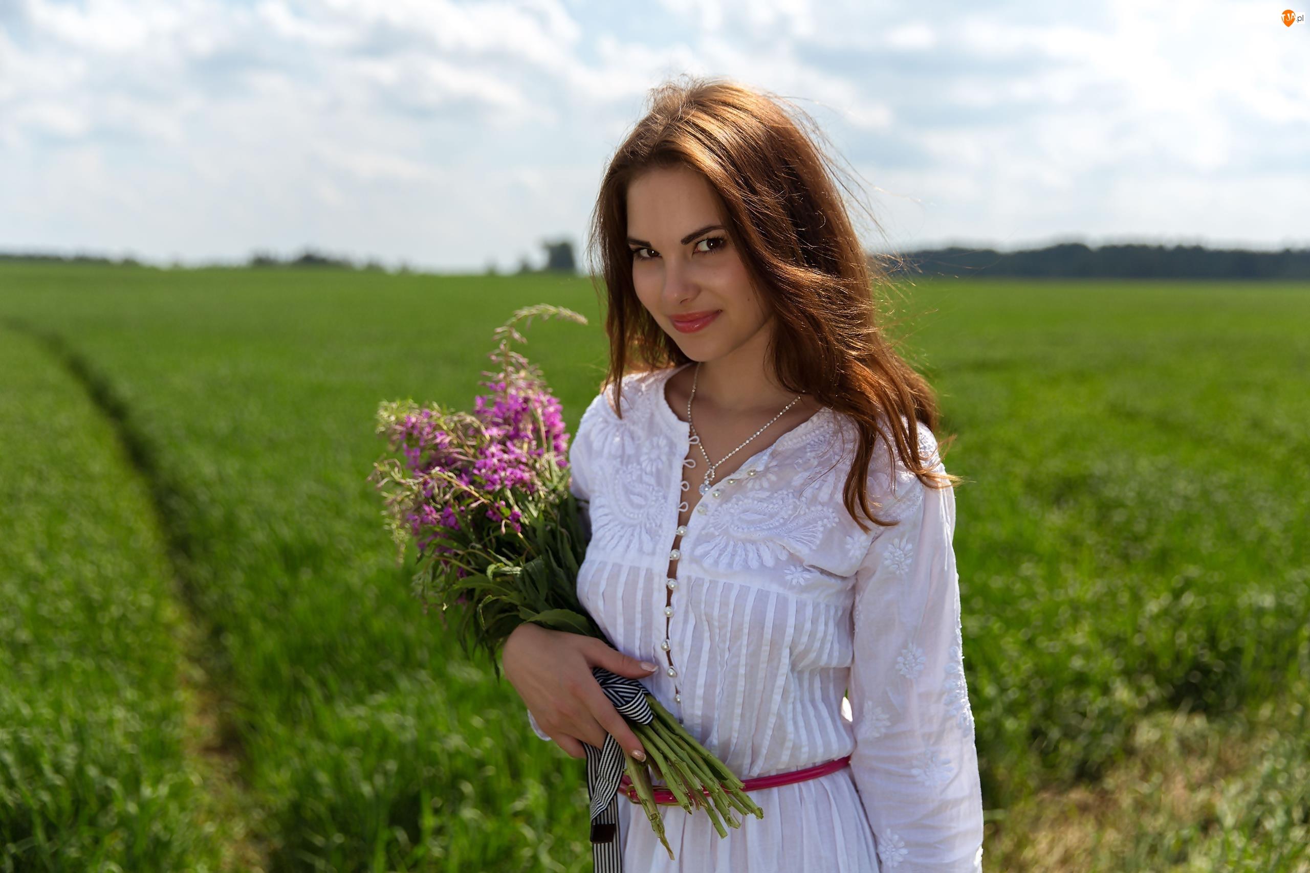 Bukiet, Kobieta, Kwiaty