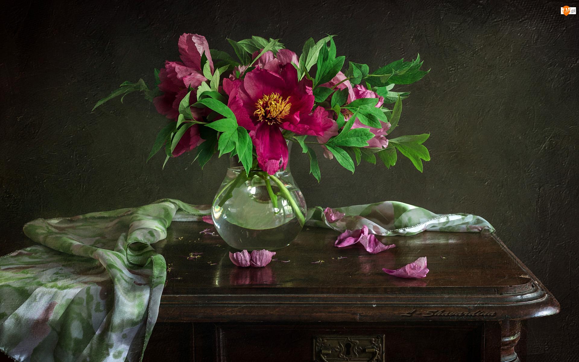 Serweta, Kwiaty, Piwonie, Stolik