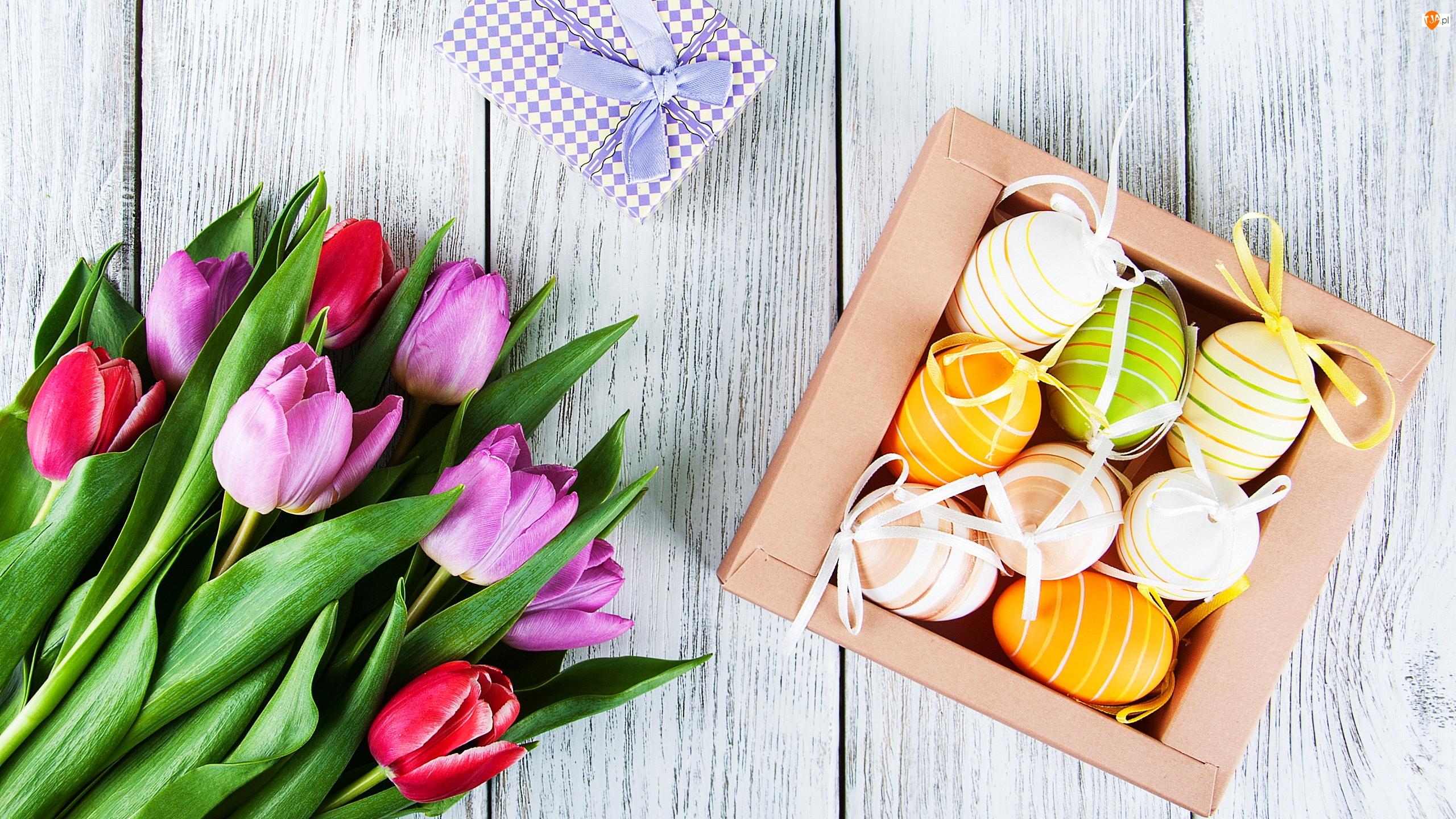 Pisanki, Wielkanoc, Prezent, Deski, Pudełko, Tulipany