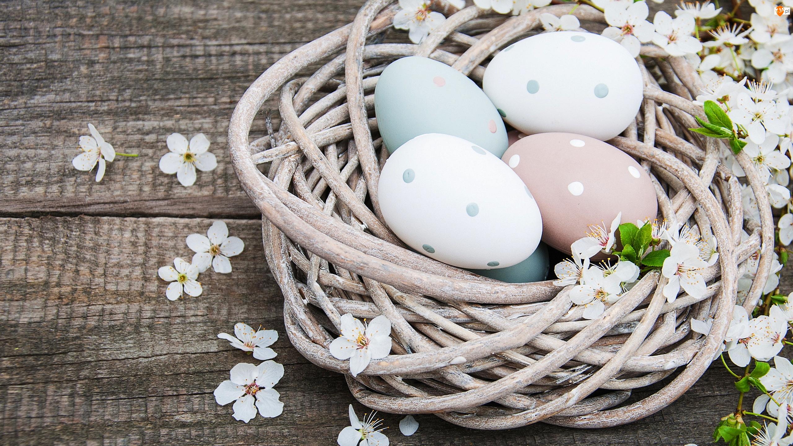 Białe, Gniazdo, Pisanki, Wielkanoc, Kwiatki