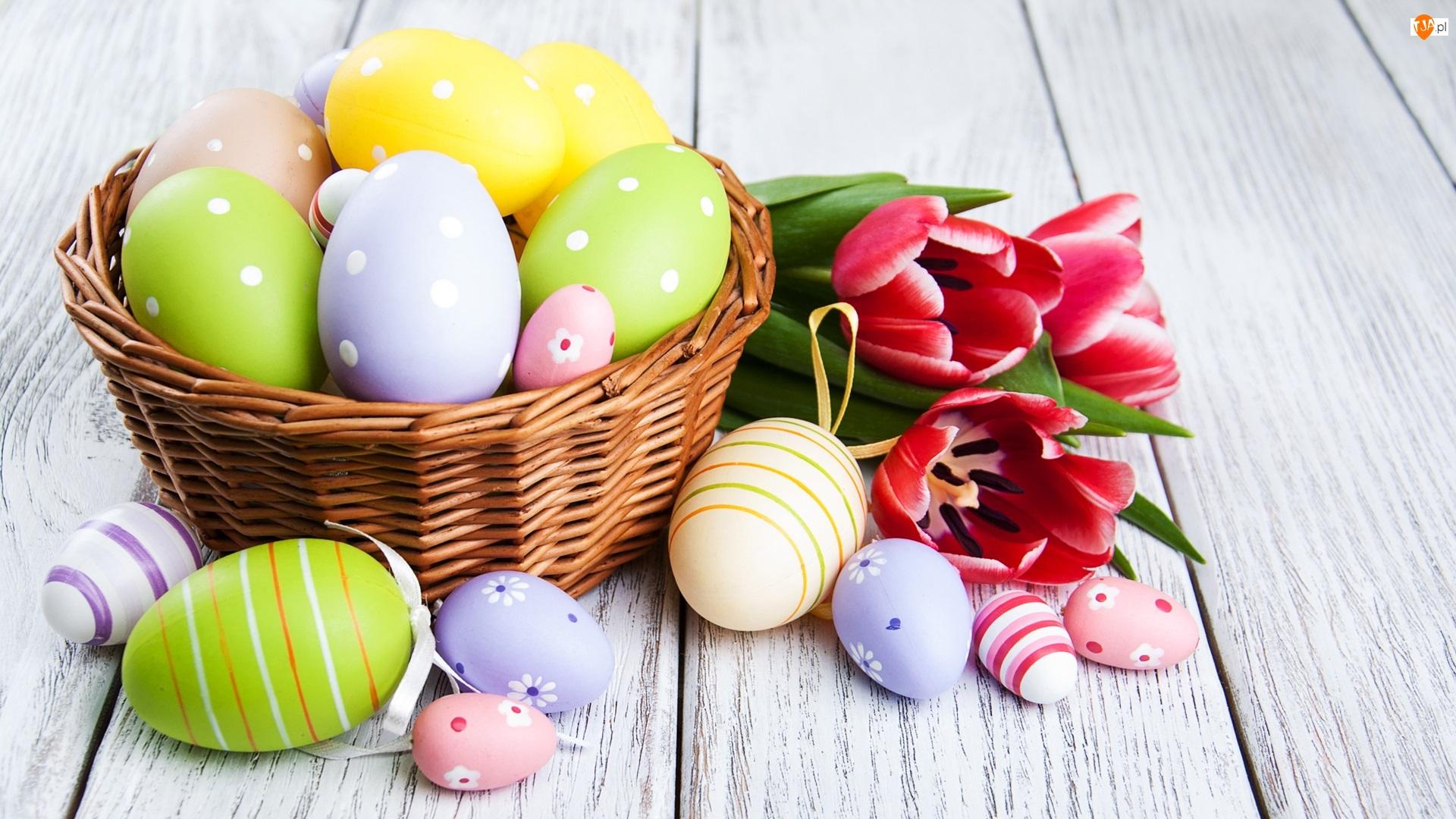 Kolorowe, Pisanki, Deski, Wielkanoc, Tulipany, Czerwone, Koszyk