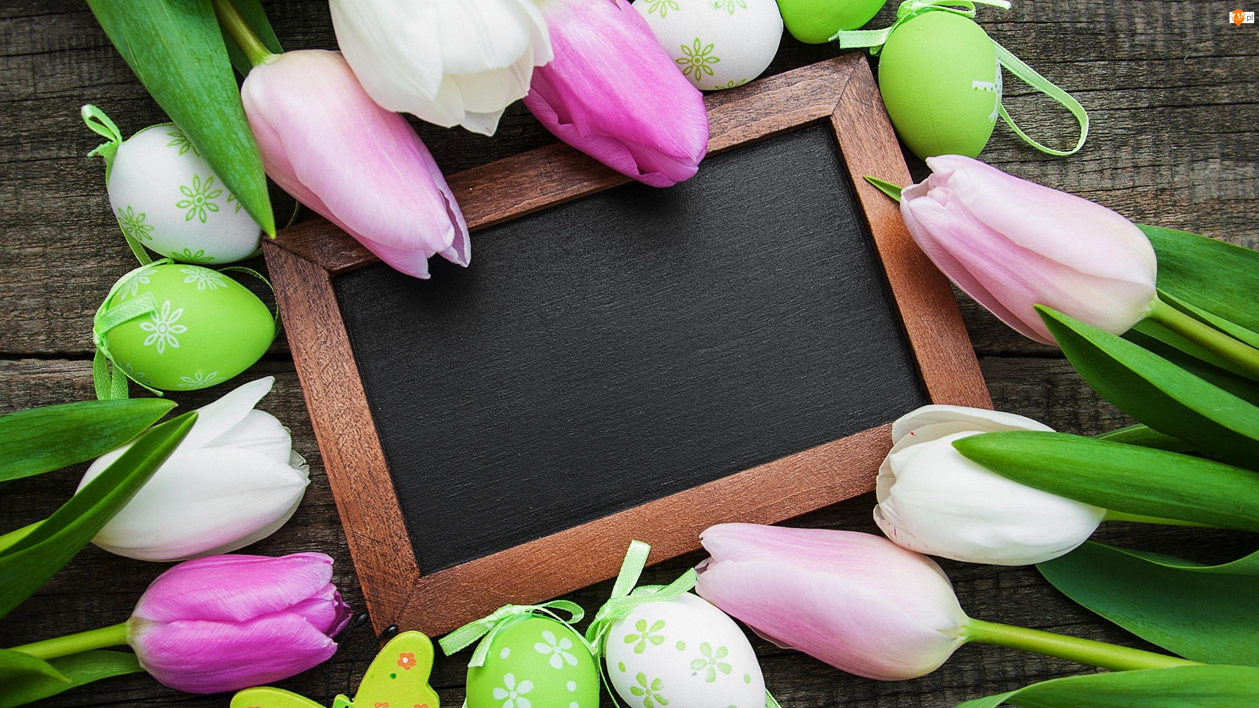 Ramka, Wielkanoc, Pisanki, Tulipany, Deski