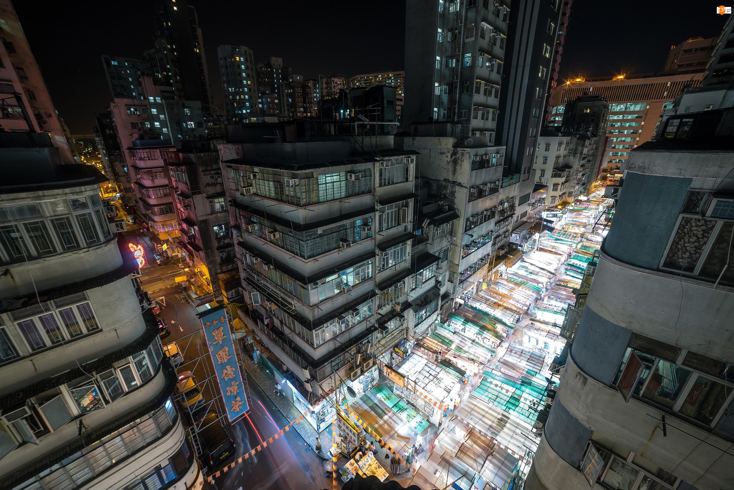 Noc, Domy, Hongkong, Chiny, Ulice