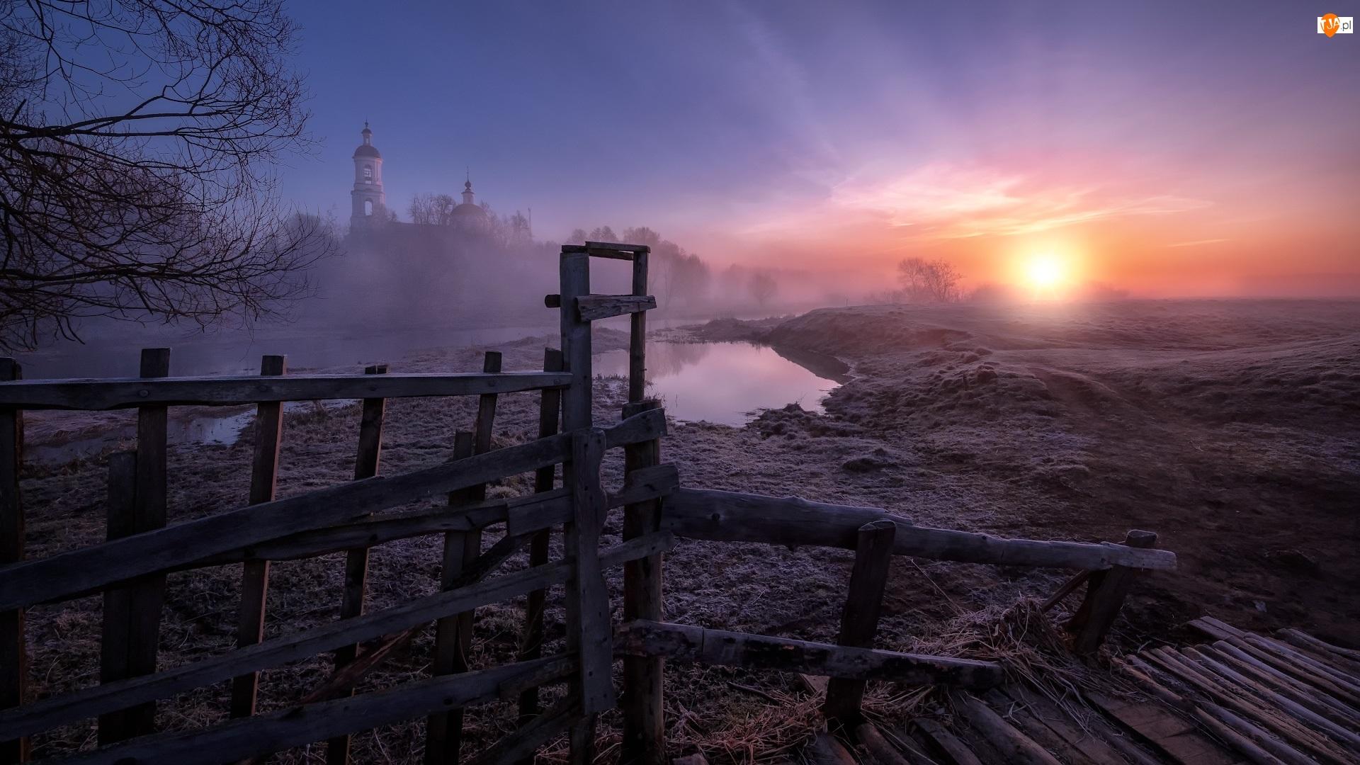 Mgła, Ogrodzenie, Rzeka, Wschód Słońca, Cerkiew