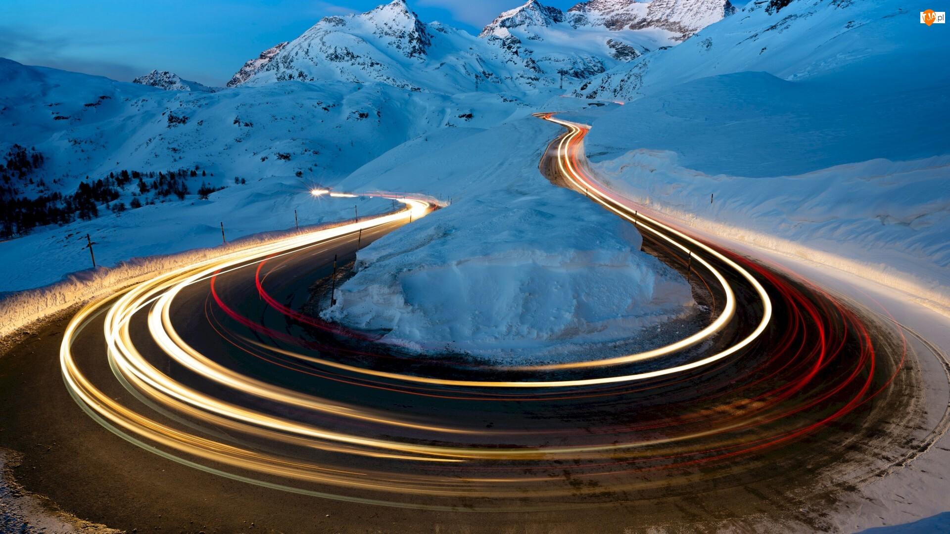 Droga, Światła, Góry, Zima, Zakręt
