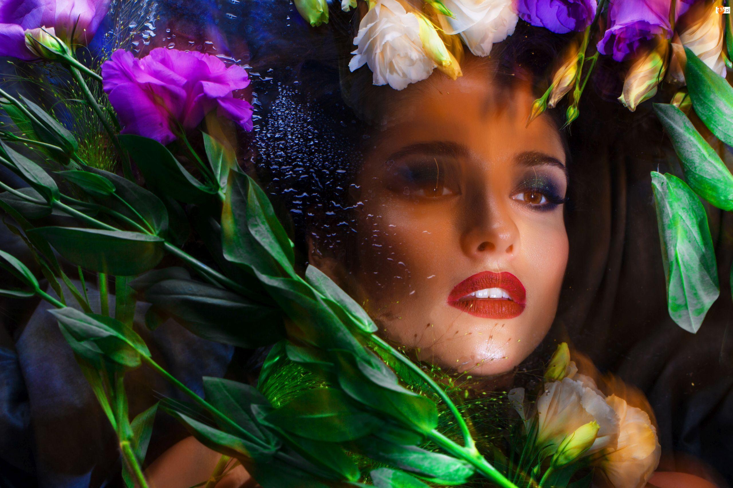 Makijaż, Kwiaty, Eustomy, Kobieta