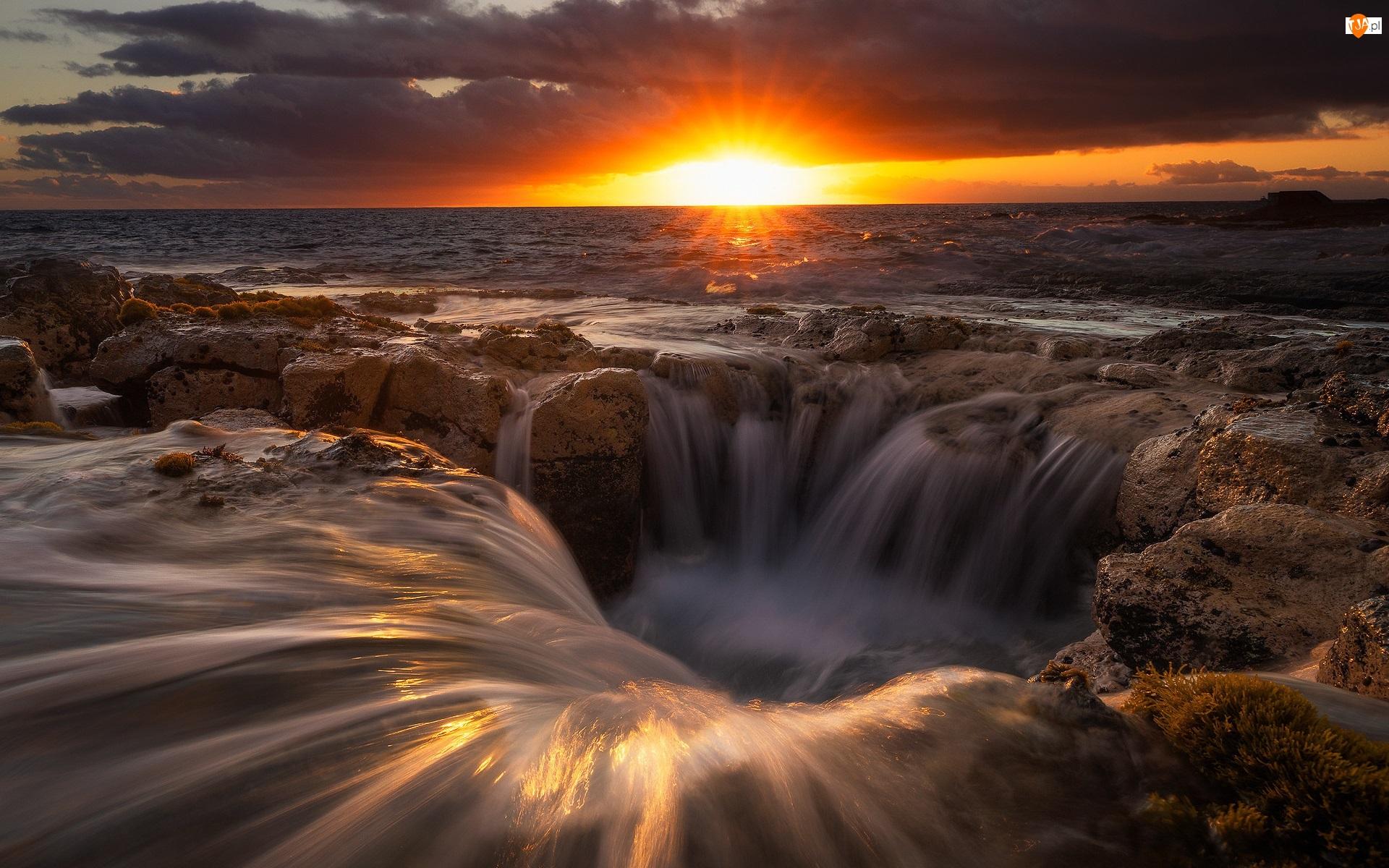 Lej, Zachód słońca, Morze, Skały