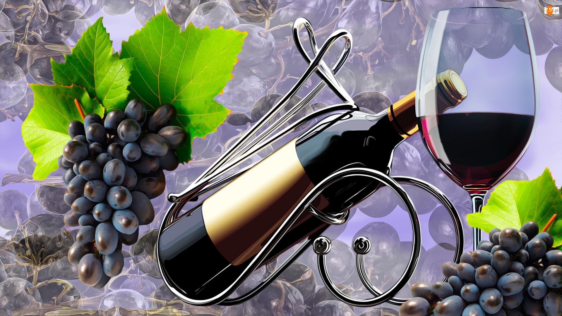 Winogrona, Owoce, Kieliszek, Grafika, Butelki, Wino