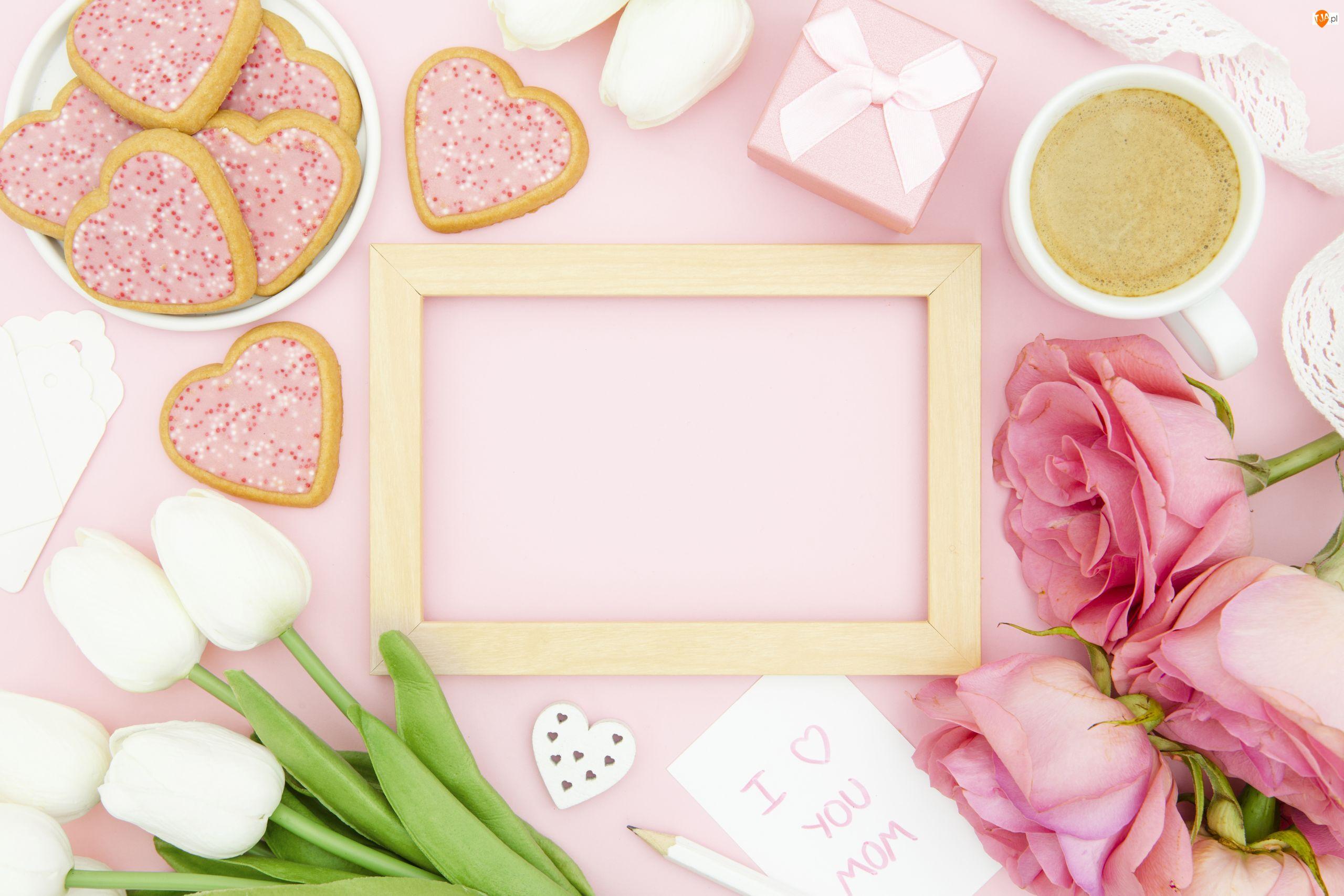 Serduszka, Kwiaty, Prezent, Ramka, Róże, Ciasteczka, Dzień Matki, Tulipany