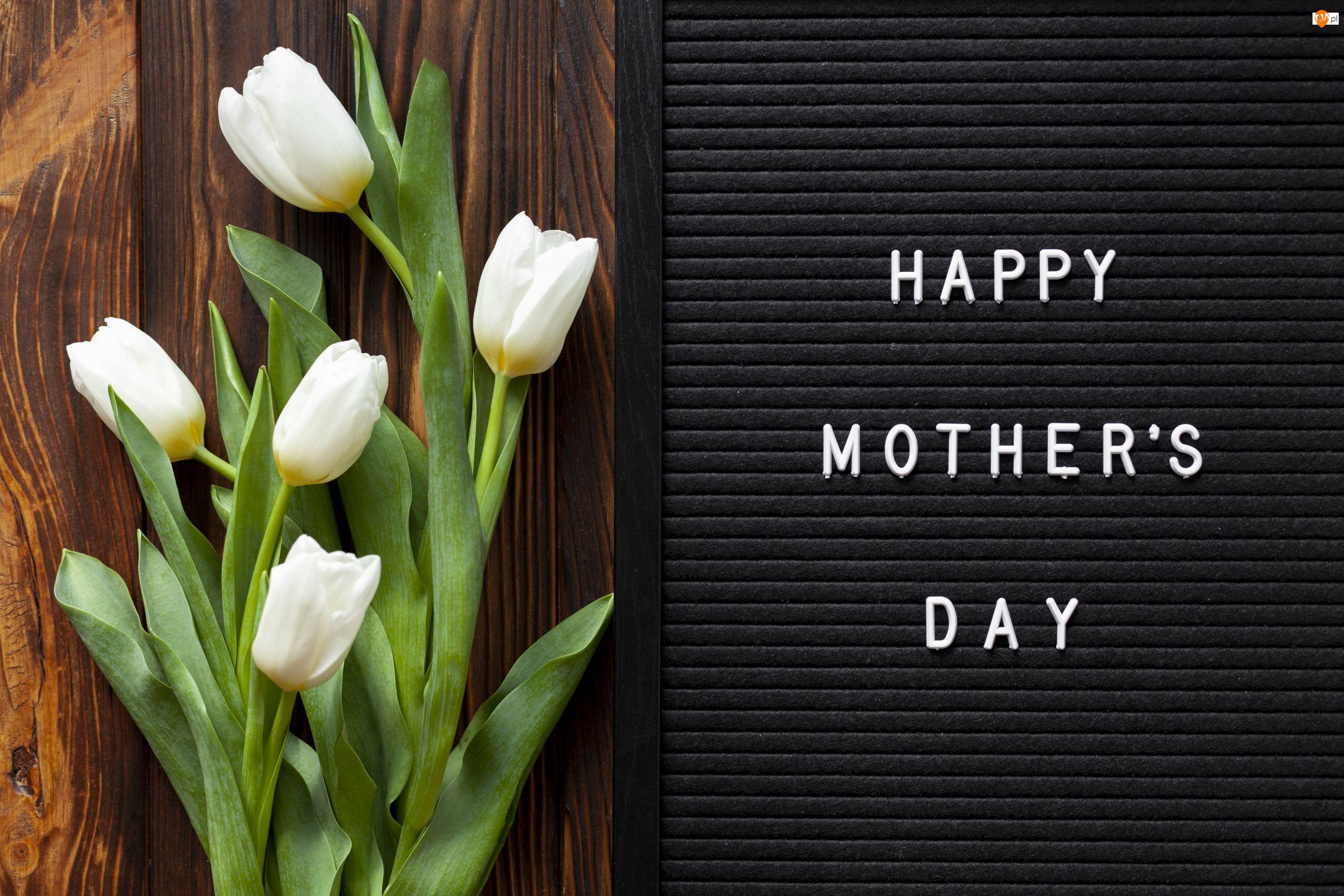 Tulipany, Dzień Matki, Białe, Kwiaty, Napis