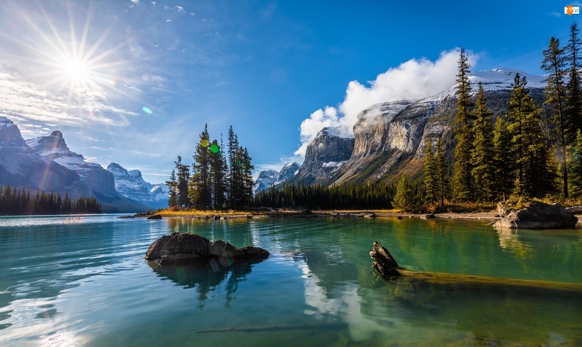 Prowincja Alberta, Kanada, Góry, Drzewa, Park Narodowy Jasper, Jezioro Maligne