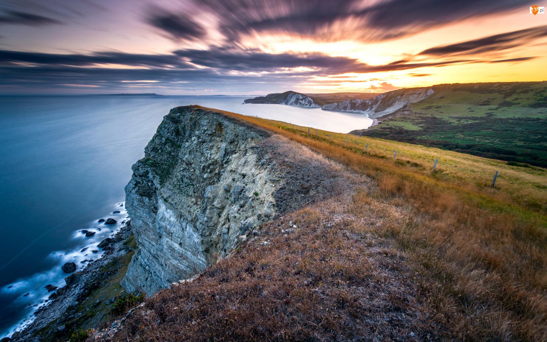Anglia, Gad Cliff, Hrabstwo Dorset, Trawy, Chmury, Klif, Morze, Wybrzeże, Zachód słońca