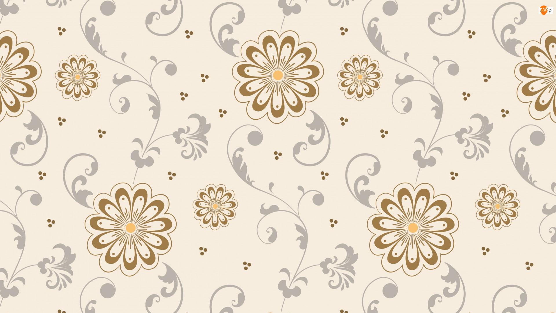 Tekstura, Wzór, Kwiaty, Beż