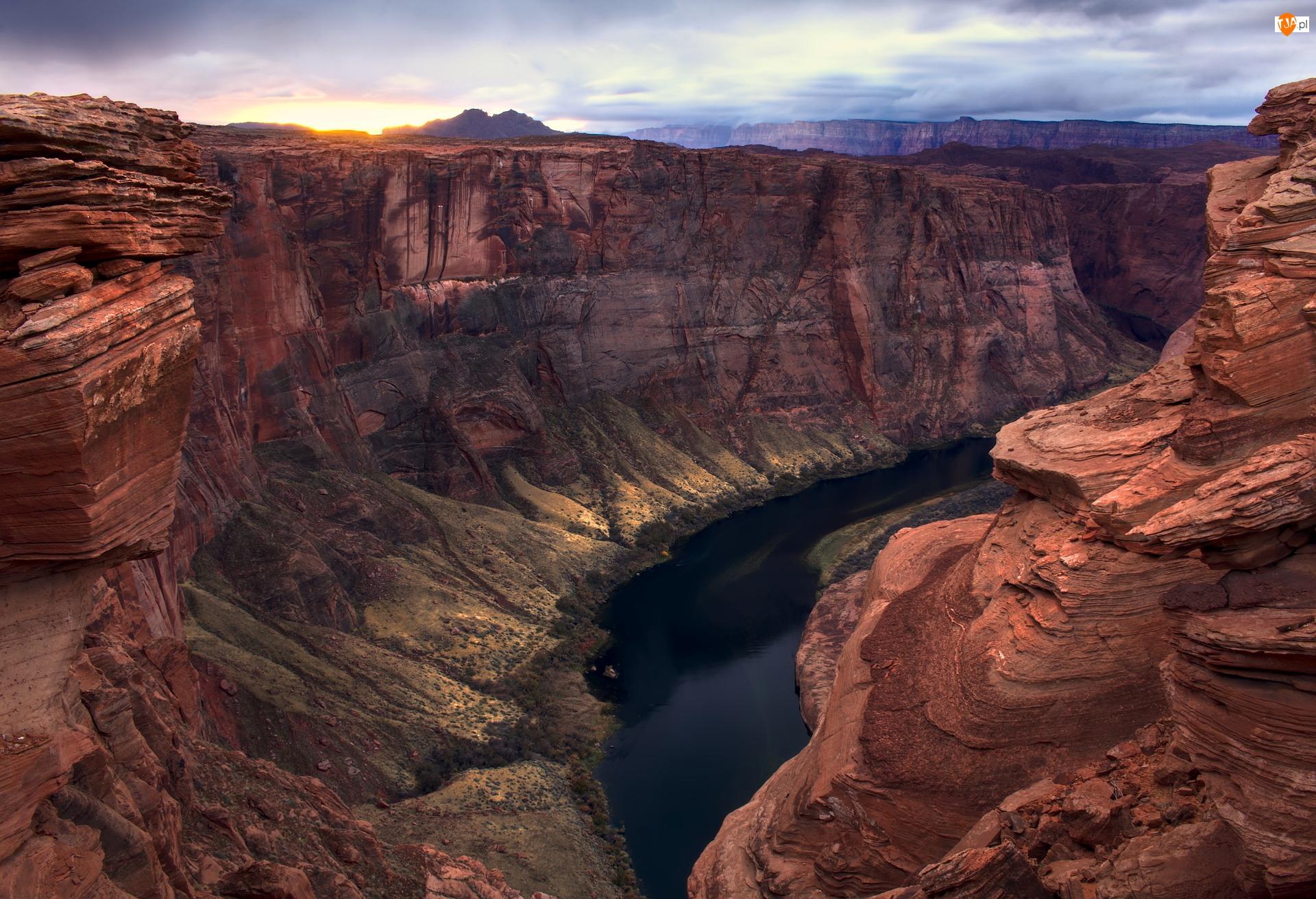 Glen Canyon, Horseshoe Bend, Stany Zjednoczone, Kanion, Stan Arizona, Skały, Rzeka Kolorado