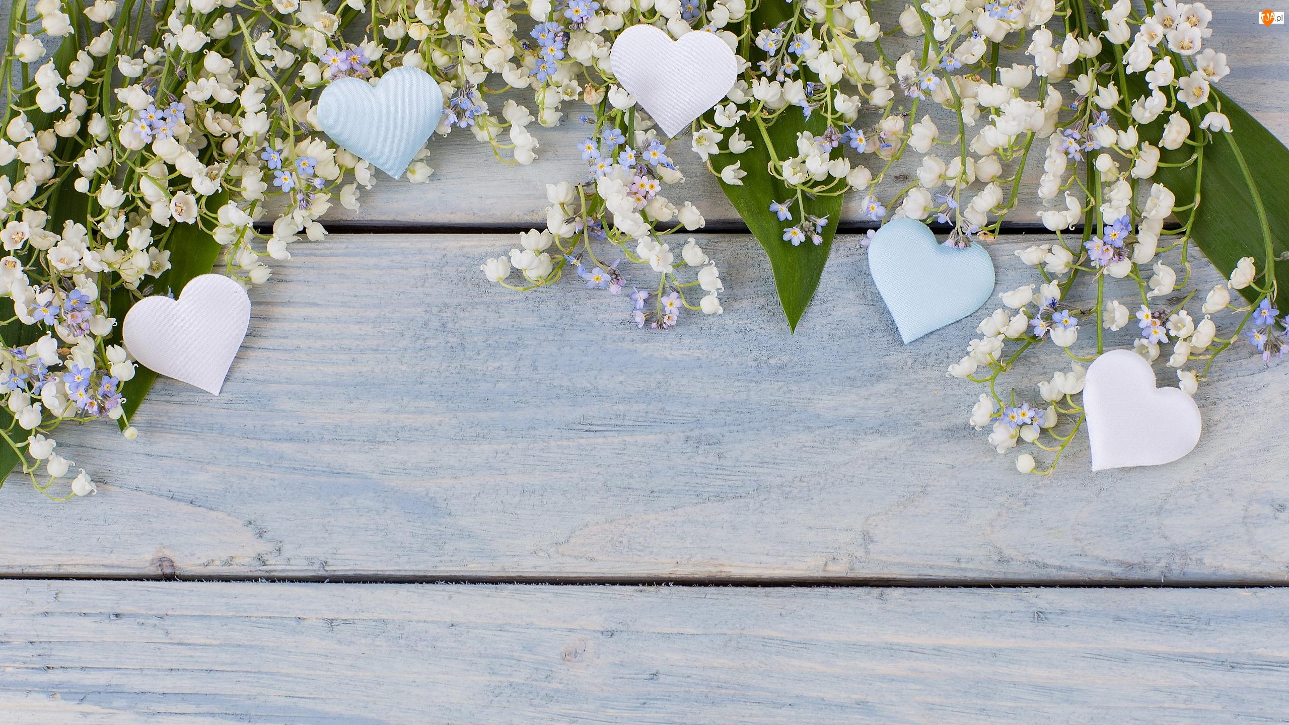 Deski, Kwiaty, Konwalie majowe, Serca