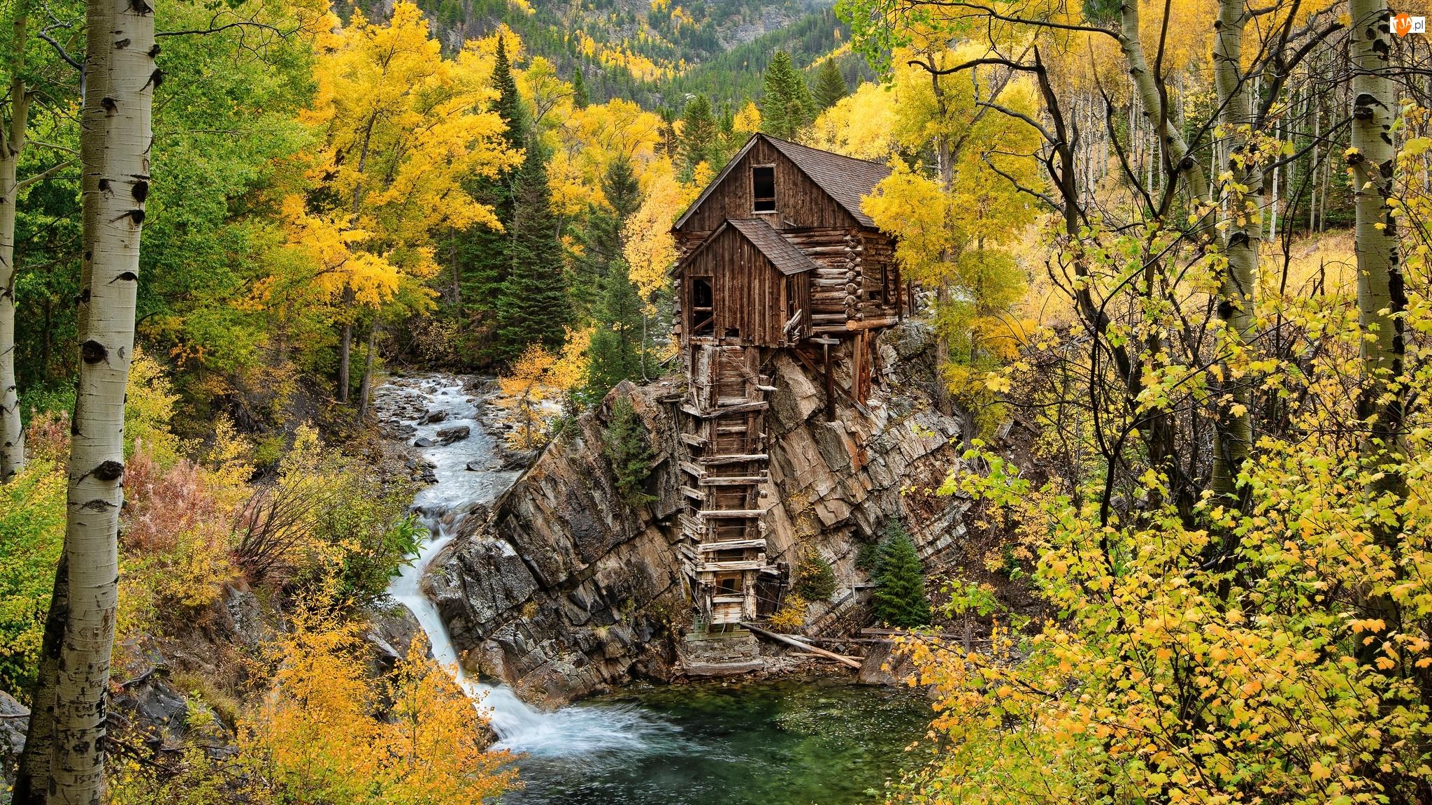 Stany Zjednoczone, Skały, Drzewa, Jesień, Młyn, Drewniany, Rzeka, Crystal Mill, Crystal River, Kolorado