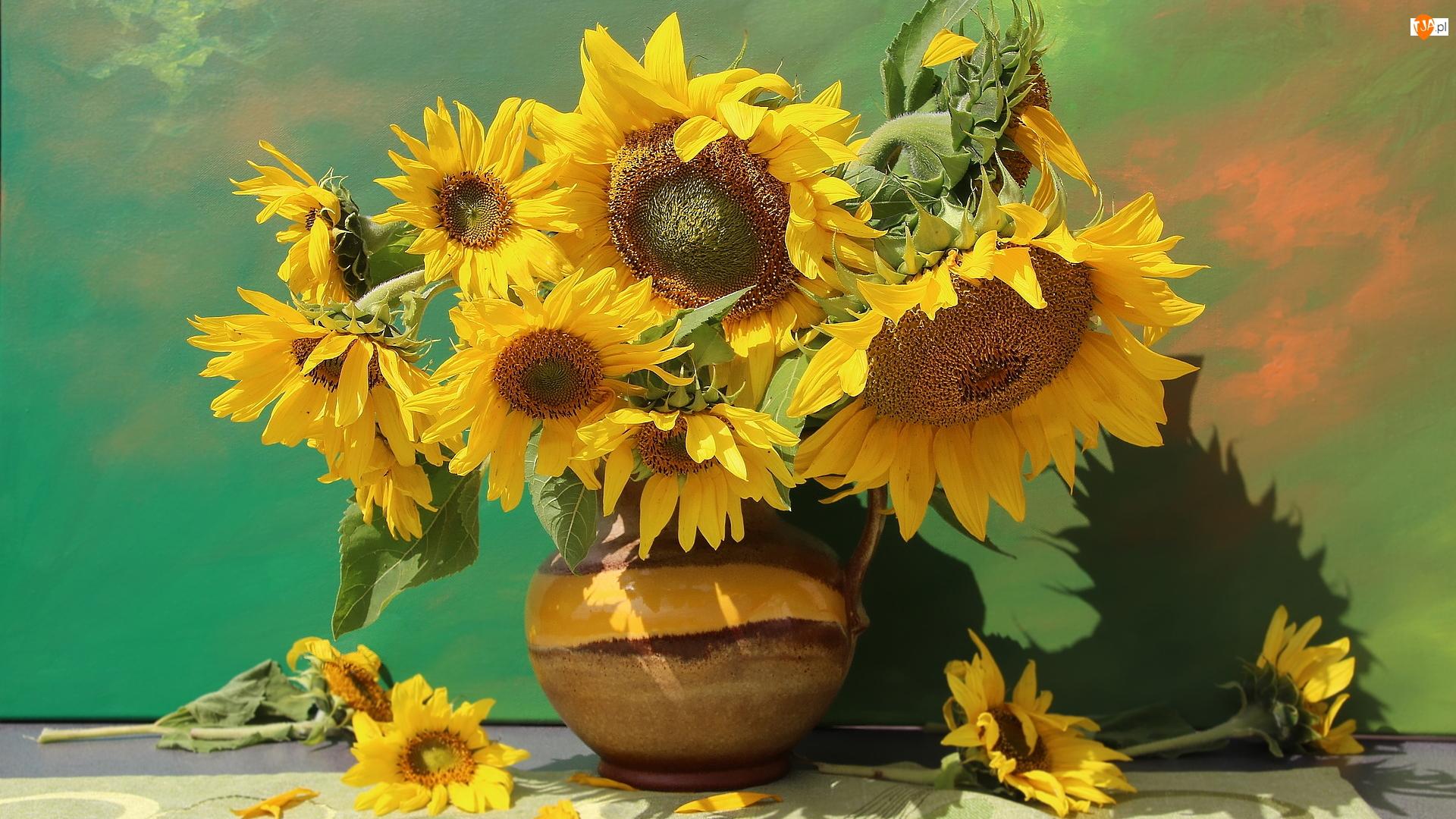 Słoneczniki, Wazon, Kwiaty