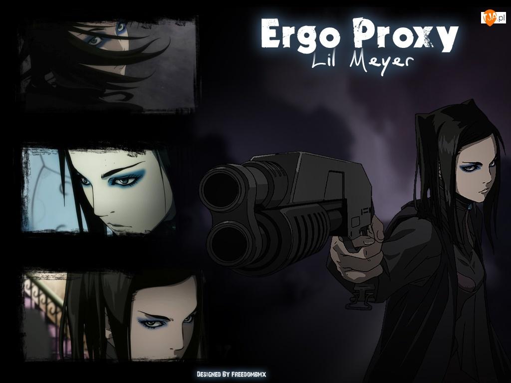 zdjęcia, Ergo Proxy, kobieta, pistolet, napisy
