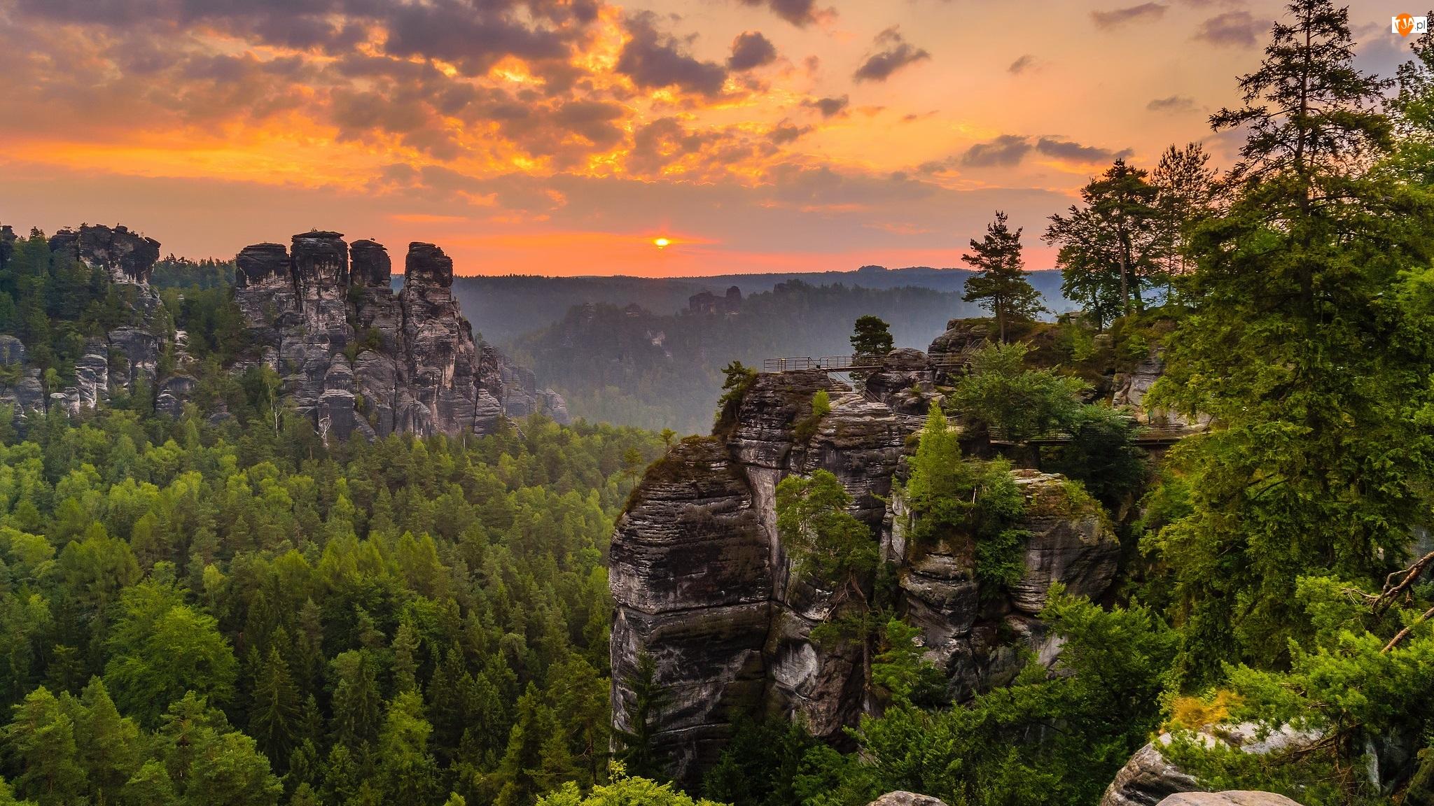 Góry Połabskie, Skały, Zachód słońca, Niemcy, Drzewa, Park Narodowy Saskiej Szwajcarii
