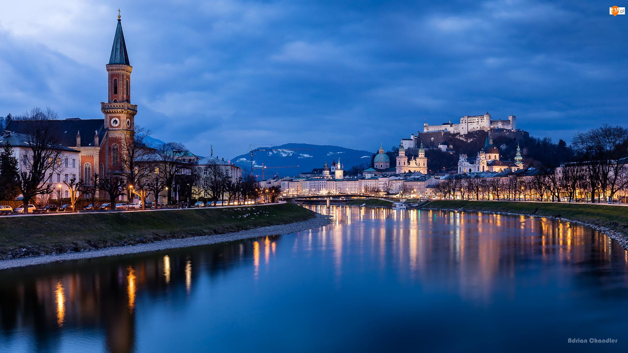 Zamek Hohensalzburg, Rzeka Salzach, Wzgórze Festungsberg, Salzburg, Kościół, Twierdza, Austria, Domy