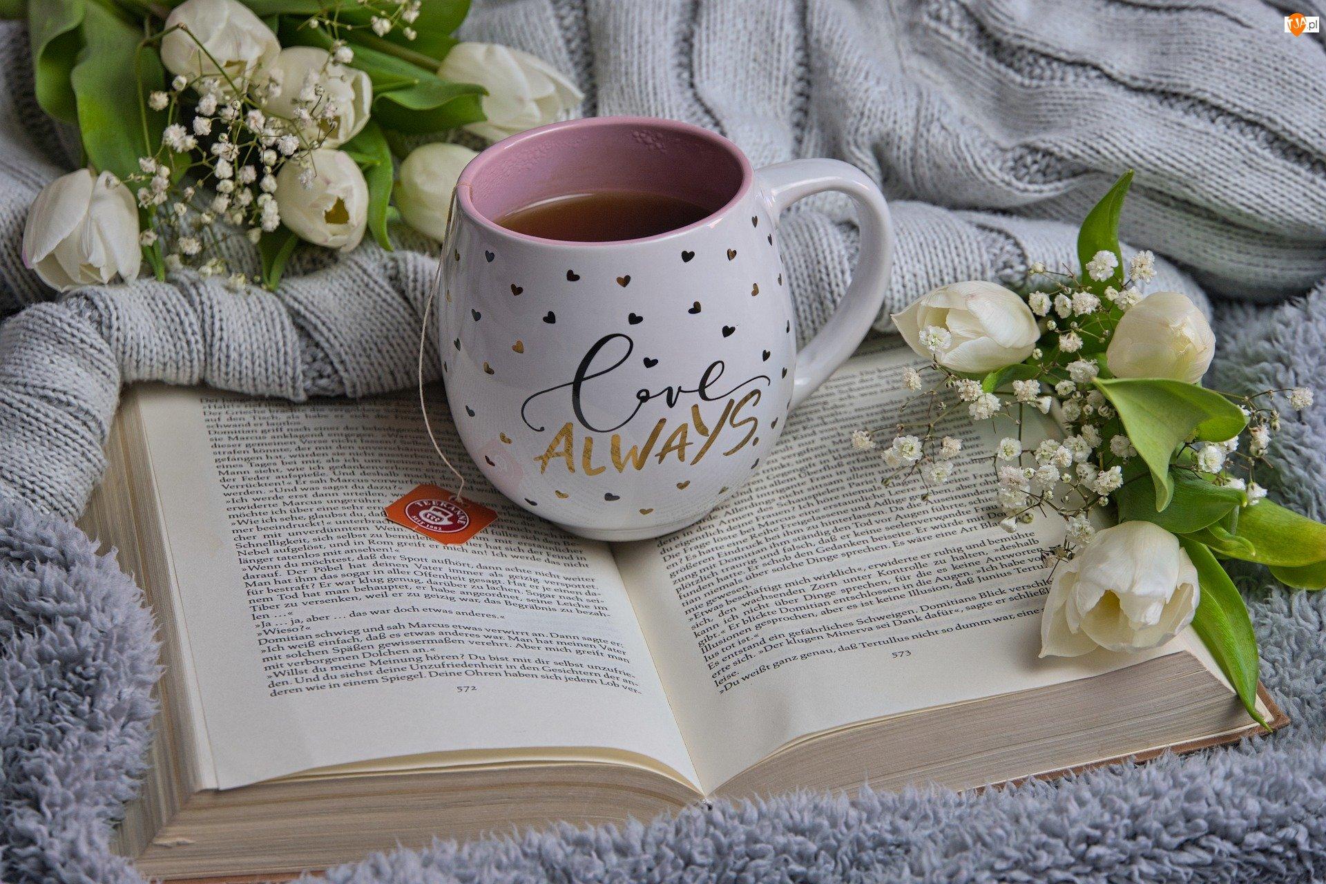 Herbata, Kubek, Białe, Książka, Kwiaty, Tulipany