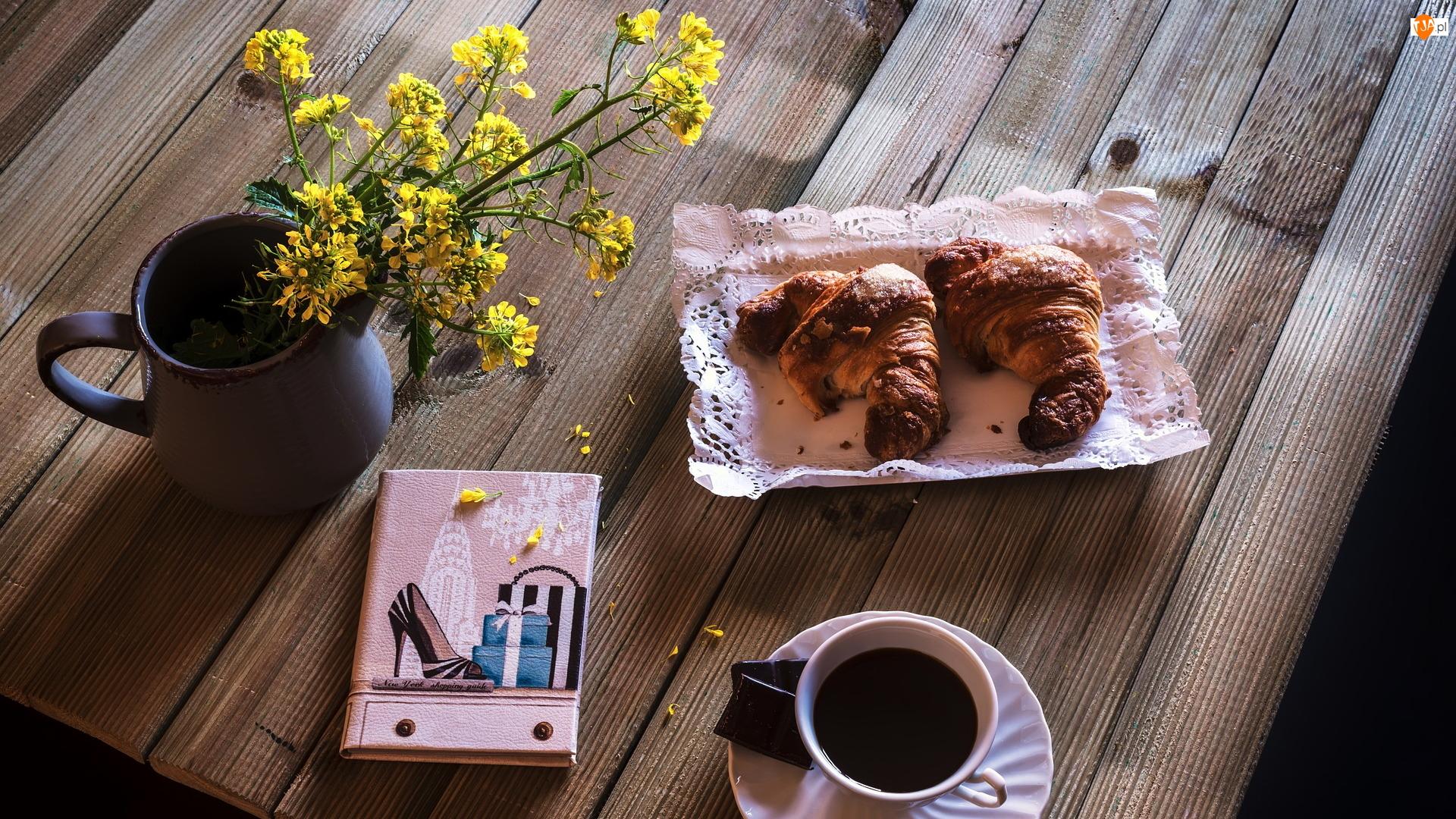 Kawa, Kompozycja, Żółte, Notes, Rogaliki, Kwiaty