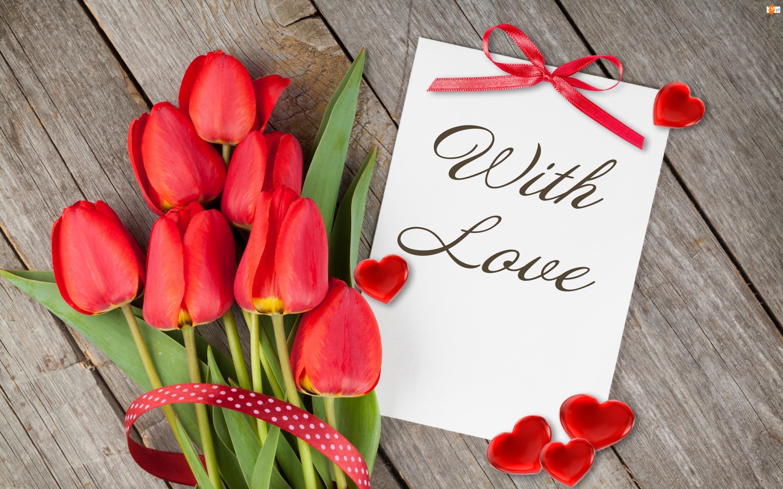 Tulipany, Czerwone, Napis, Serduszka, Kartka, With Love