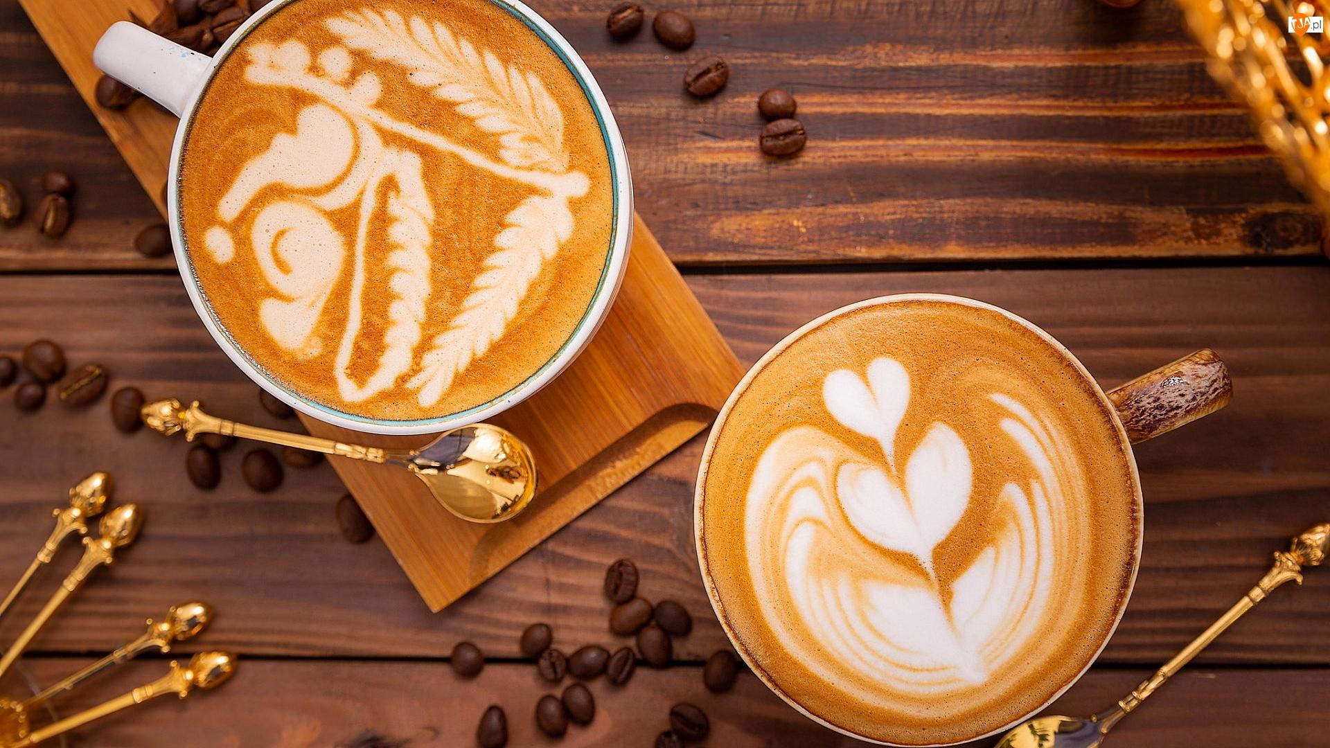 Cappuccino, Łyżeczki, Kubki, Kawa, Deska