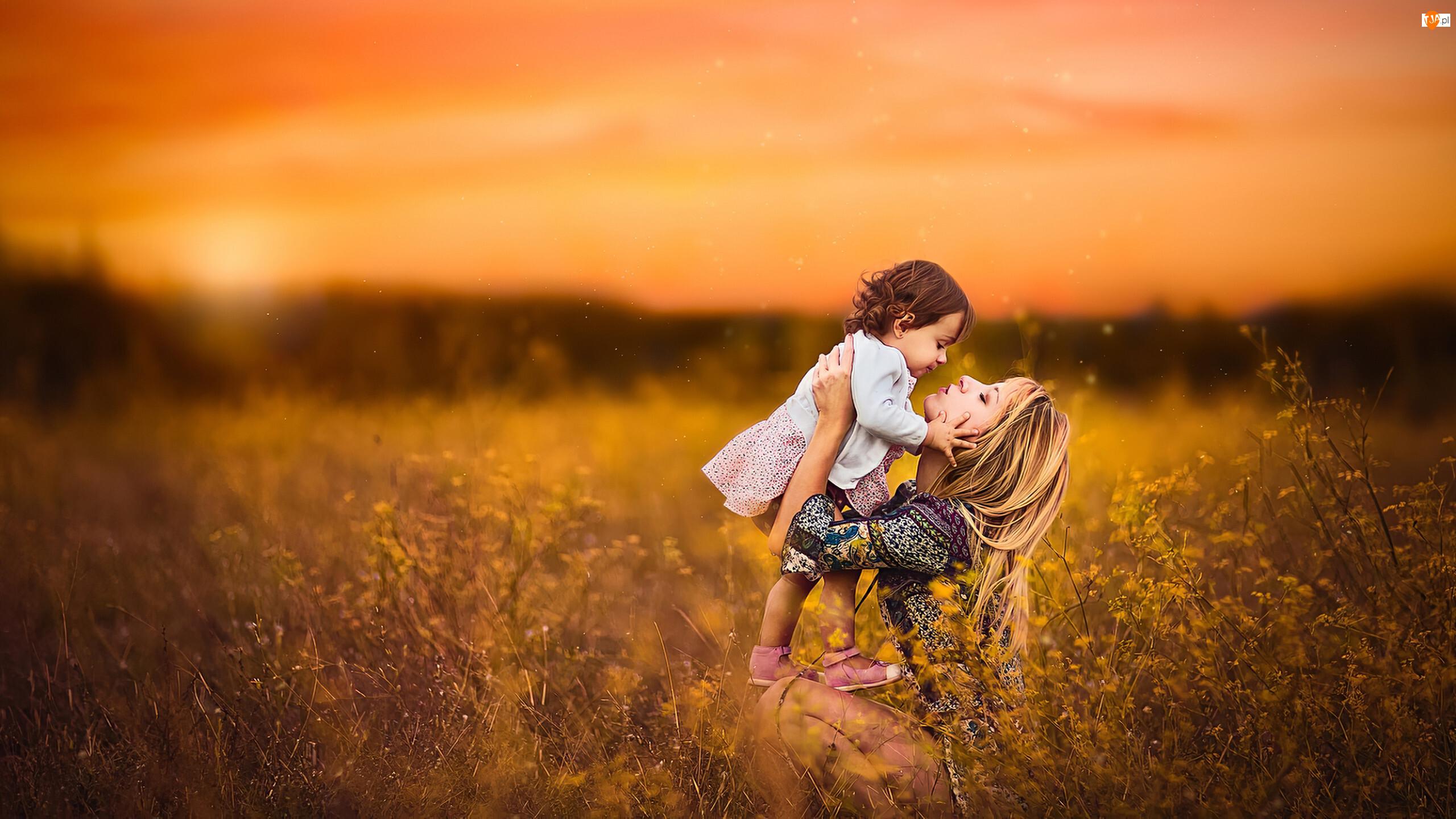 Kwiaty, Kobieta, Zachód słońca, Łąka, Córka, Dziecko, Matka