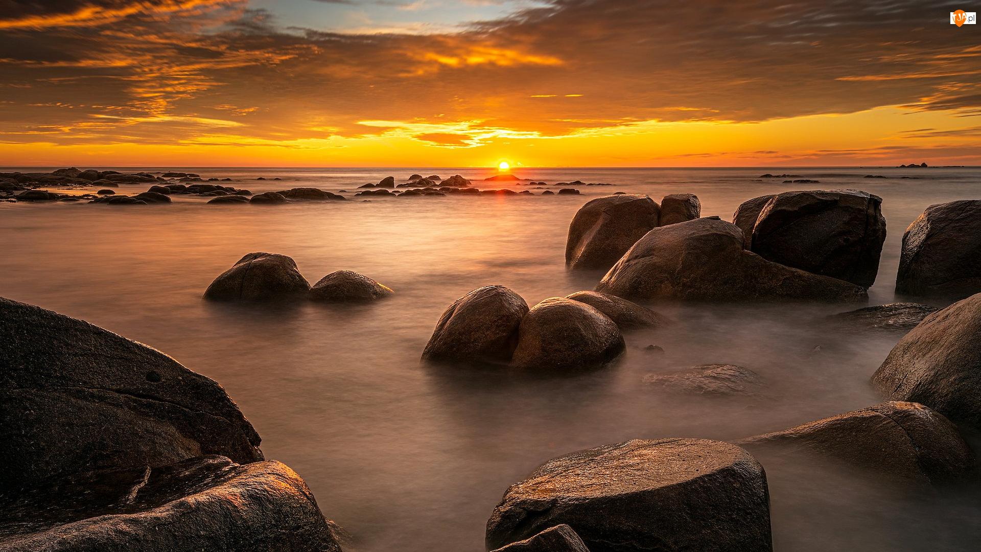Zachód słońca, Kamienie, Australia, Morze, Tasmania, Binalong Bay, Głazy