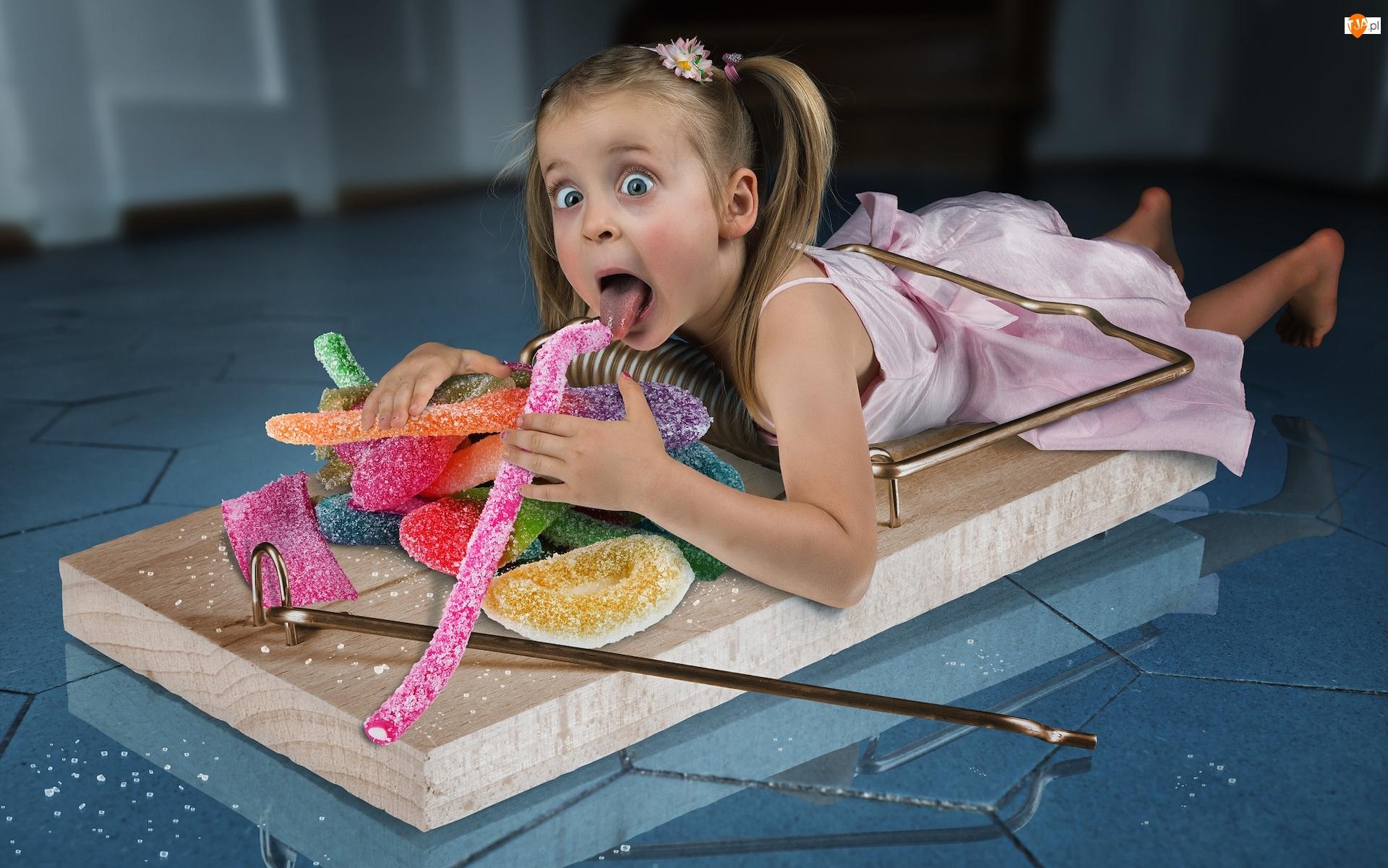 Łapka na myszy, Śmieszne, Dziewczynka, Słodycze