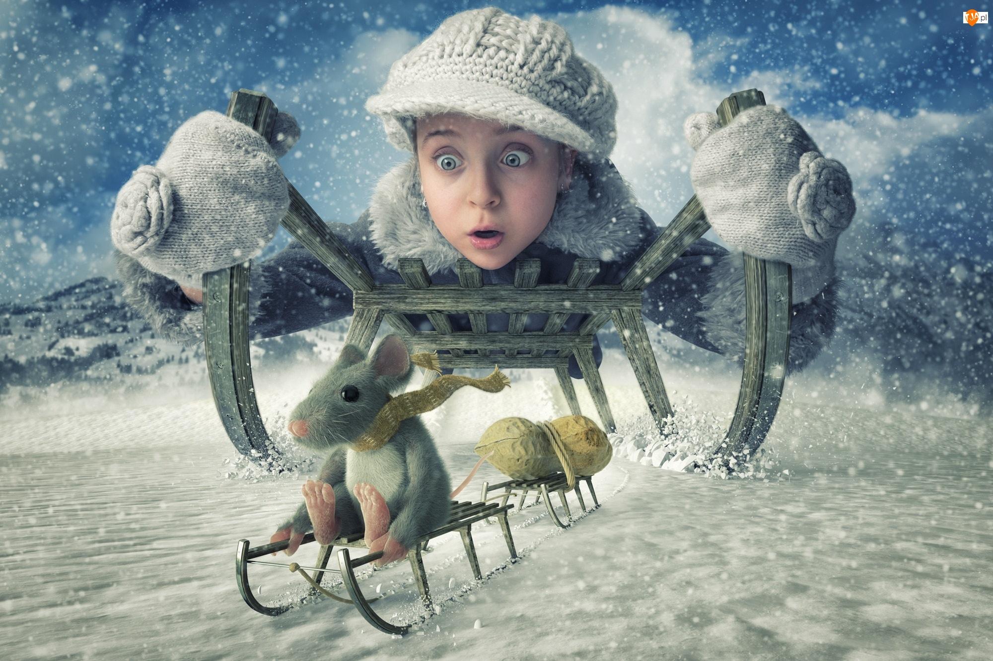 Sypiacy, Zima, Orzeszek, Śnieg, Dziewczynka, Sanki, Śmieszne, Myszka