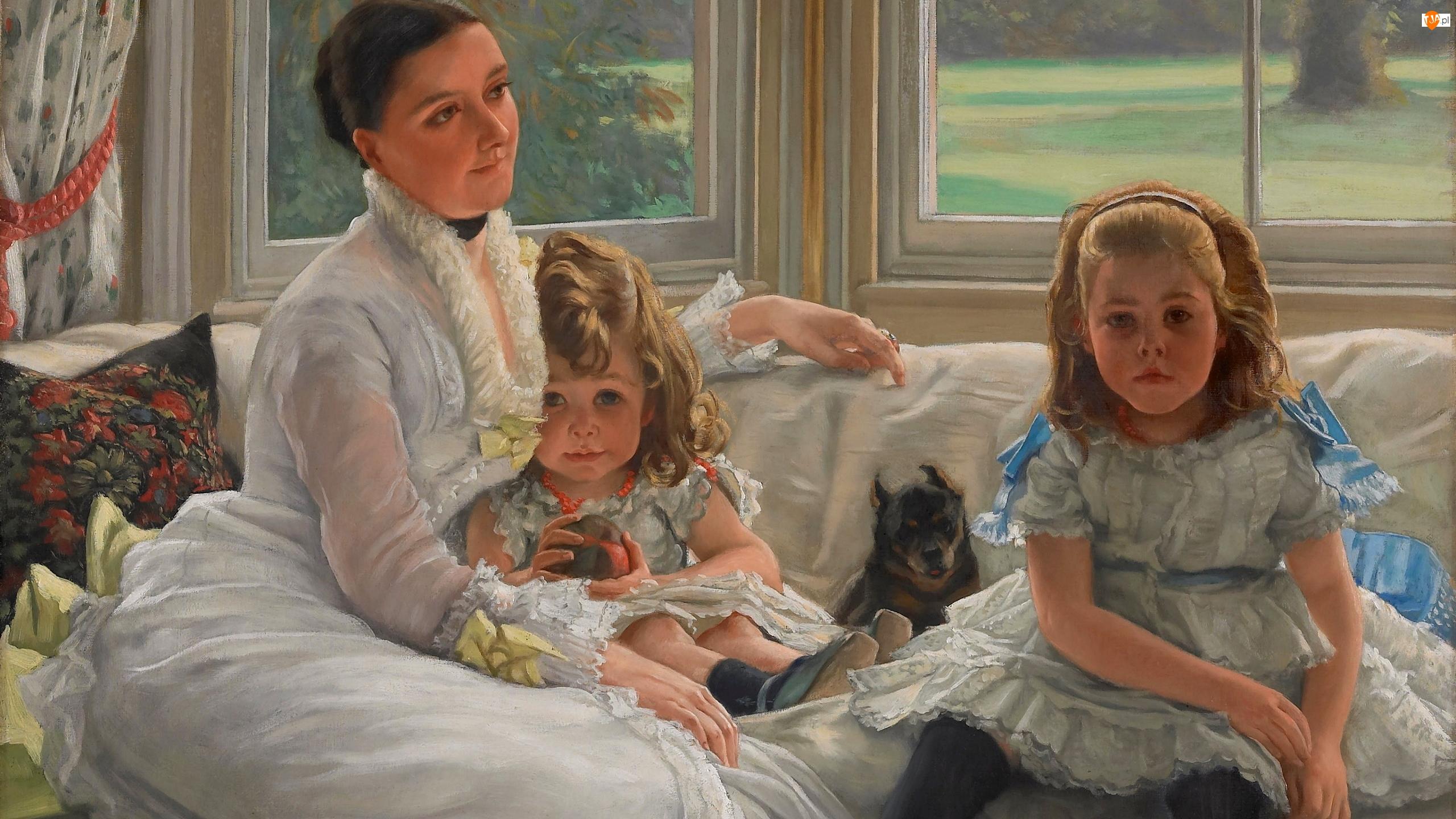 Okno, Dziewczynki, Pies, Dwie, Obraz, Malarstwo, Kobieta, James Tissot, Dzieci, Kanapa