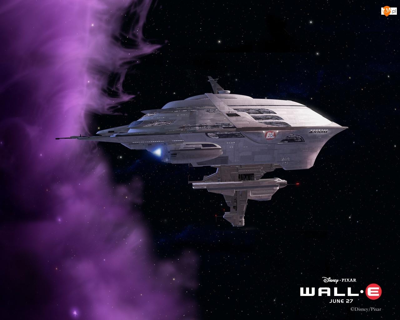 kosmiczny, Wall E, gwiazdy, statek