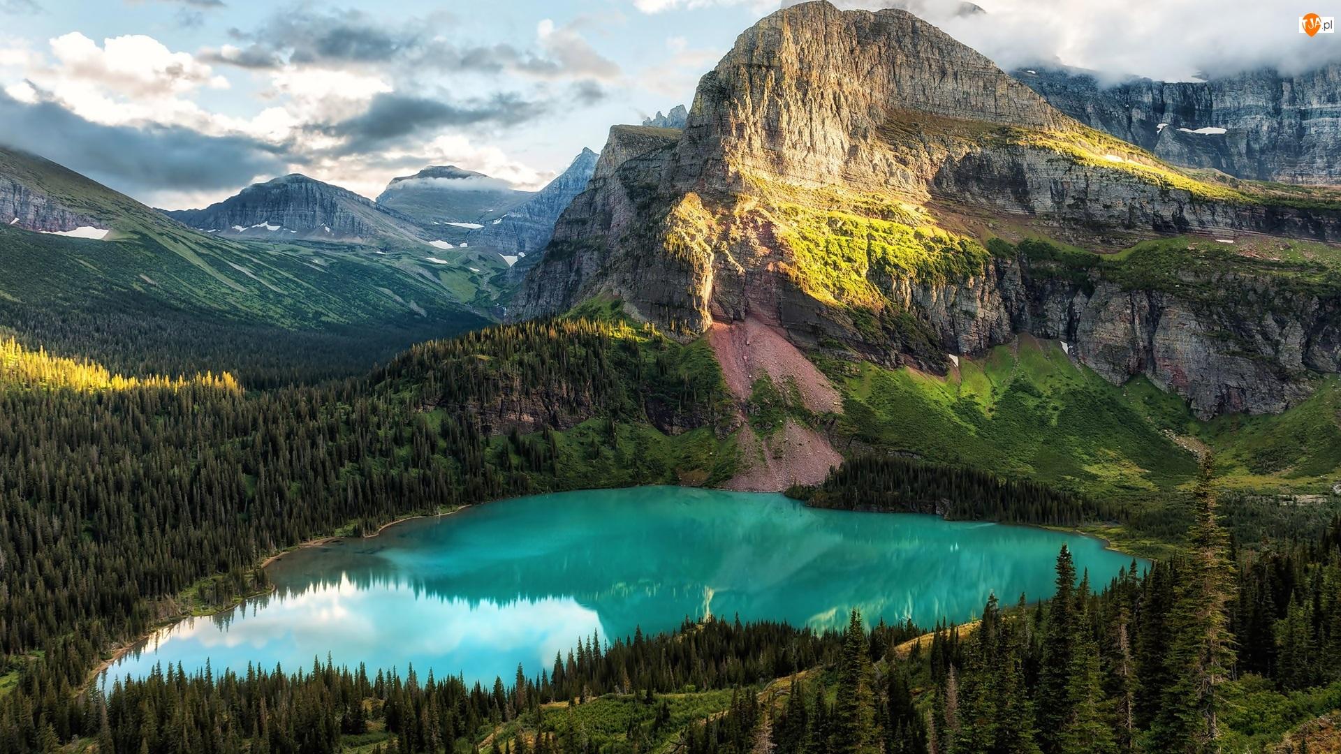 Jezioro Grinnell Lake, Góry, Park Narodowy Glacier, Stany Zjednoczone, Drzewa, Montana