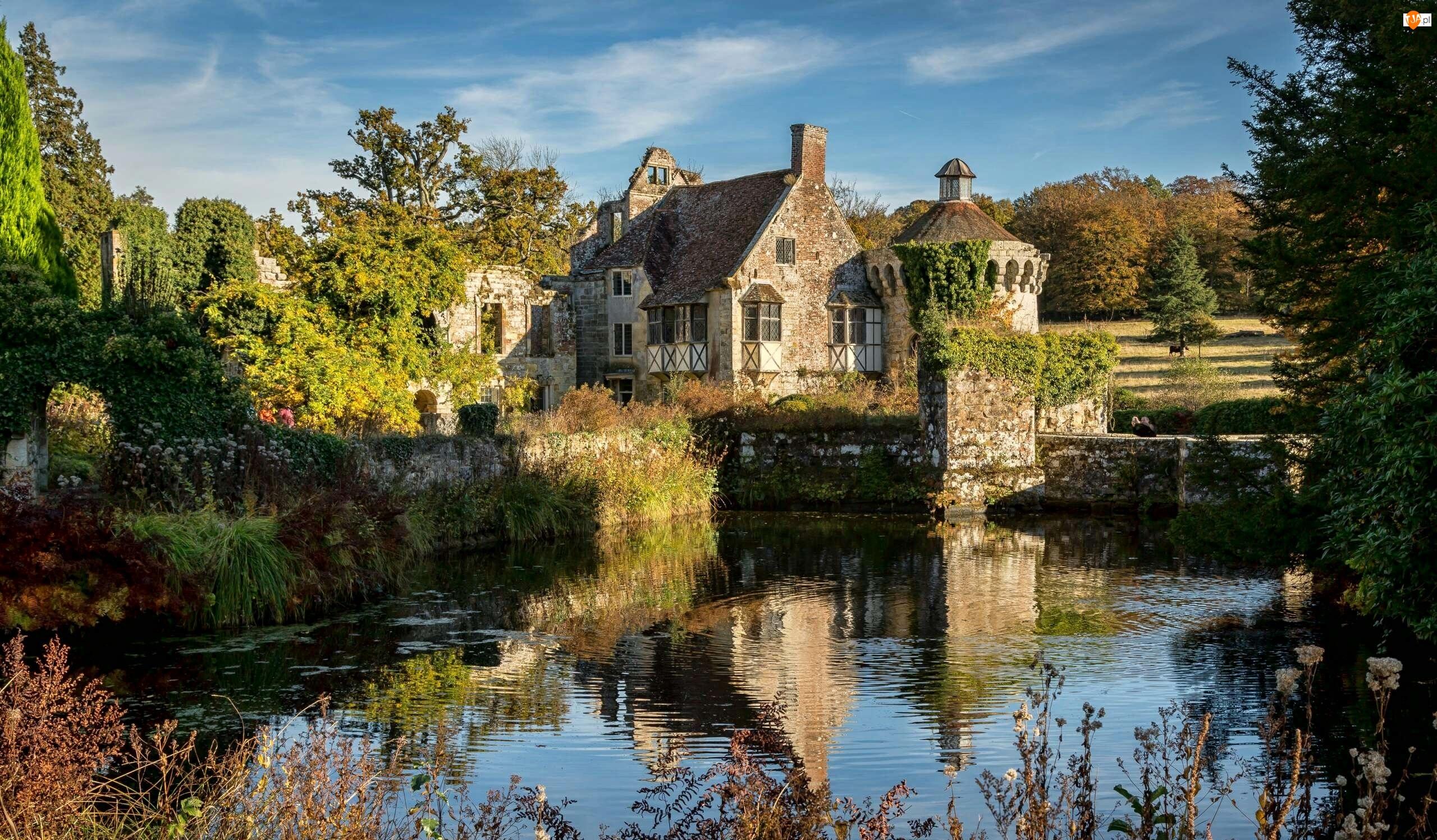 Scotney Castle, Anglia, Dworek, Drzewa, Hrabstwo Kent, Rezydencja, Staw, Wieś Lamberhurst