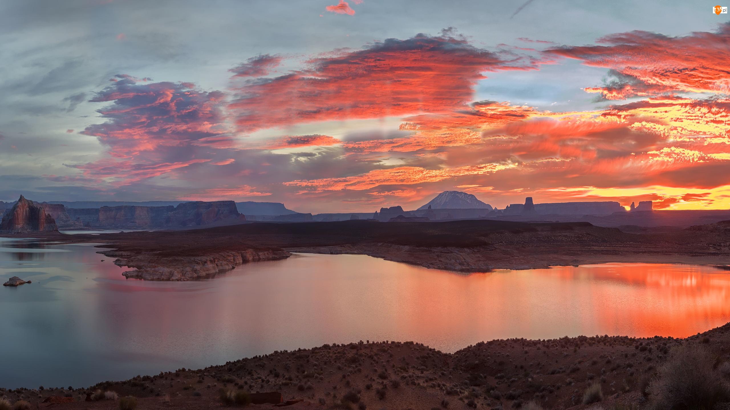 Wschód słońca, Jezioro, Glen Canyon, Arizona, Lake Powell, Skały, Stany Zjednoczone, Kanion