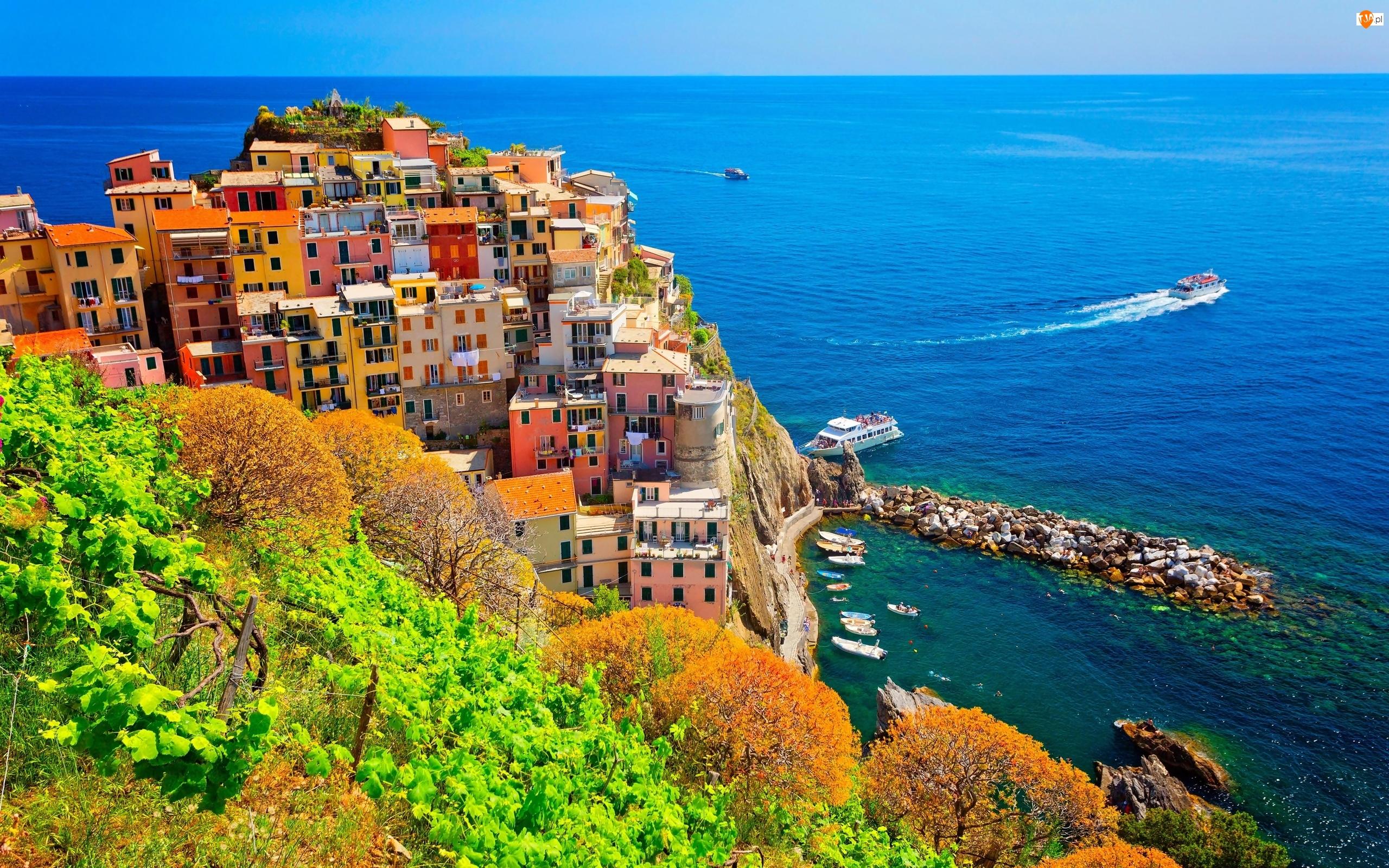 Statki, Gmina Riomaggiore, Drzewa, Kolorowe, Domy, Manarola, Wybrzeże, Włochy, Morze Liguryjskie