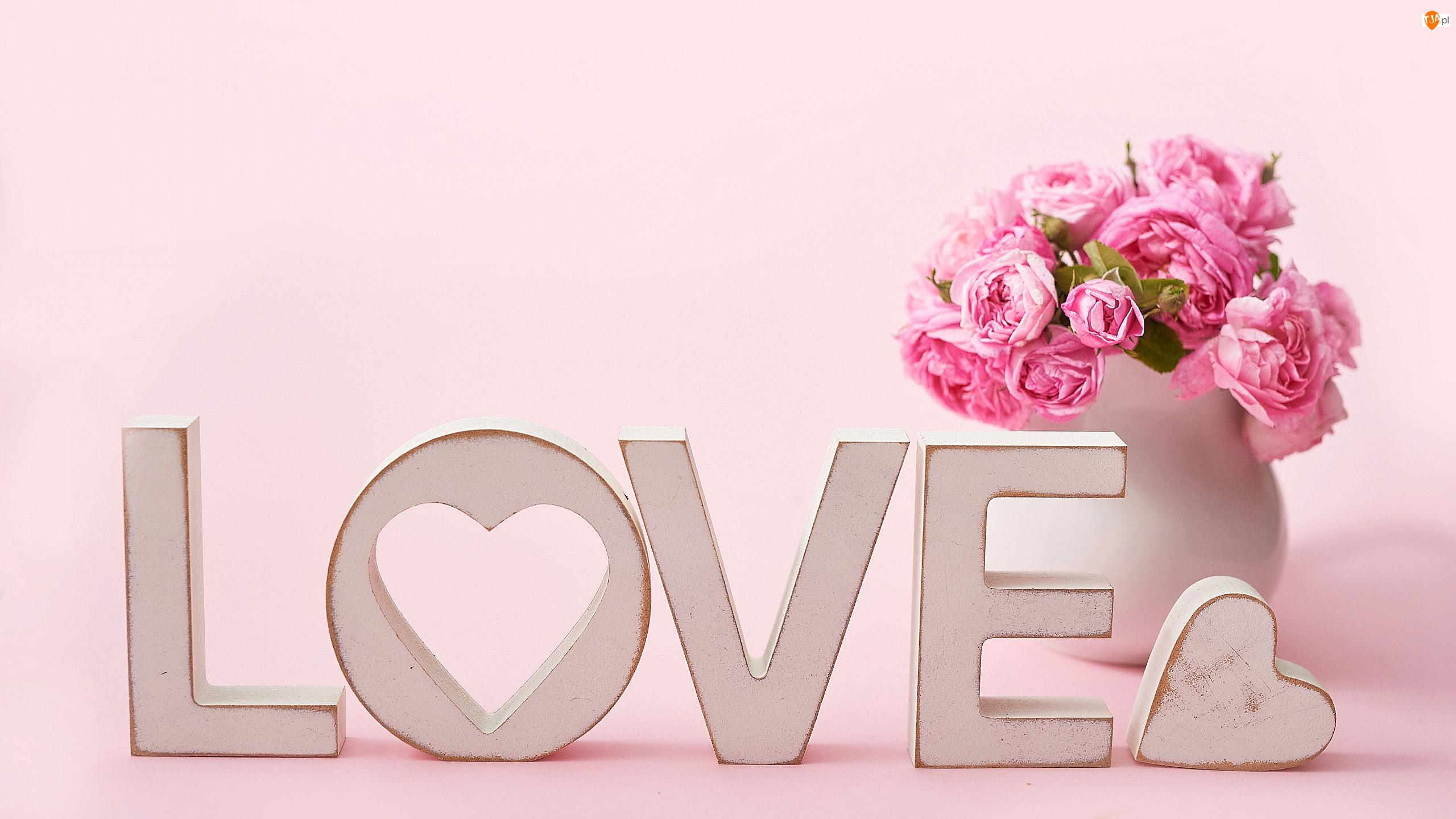Róże, Bukiet, Serce, Kwiaty, Love, Napis, Wazon