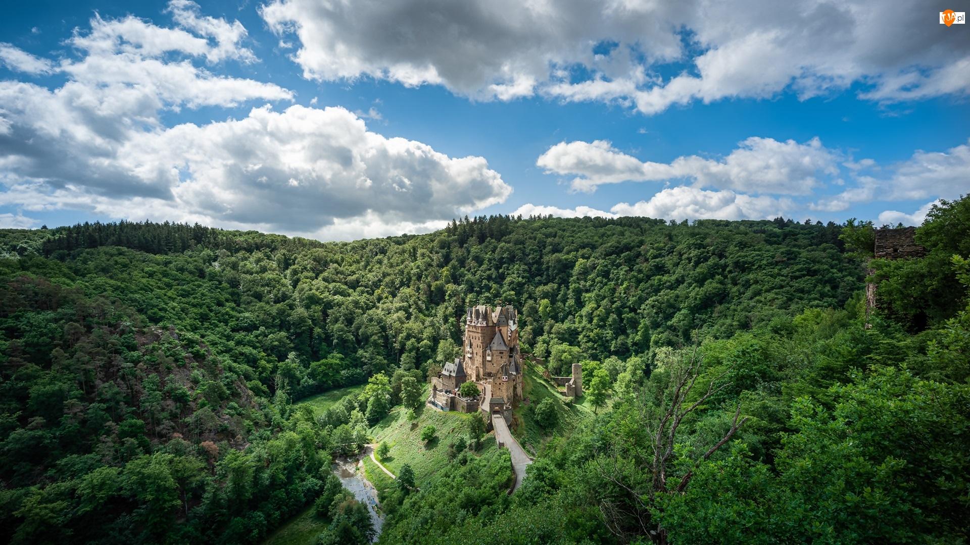Drzewa, Las, Niemcy, Zamek Eltz, Nadrenia-Palatynat, Gmina Wierschem, Chmury