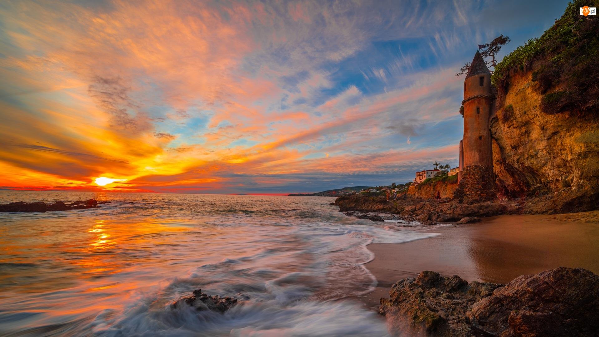 Stany Zjednoczone, Victoria Beach, Kalifornia, Skały, Zachód słońca, Wieża, La Tour, Morze, Klif