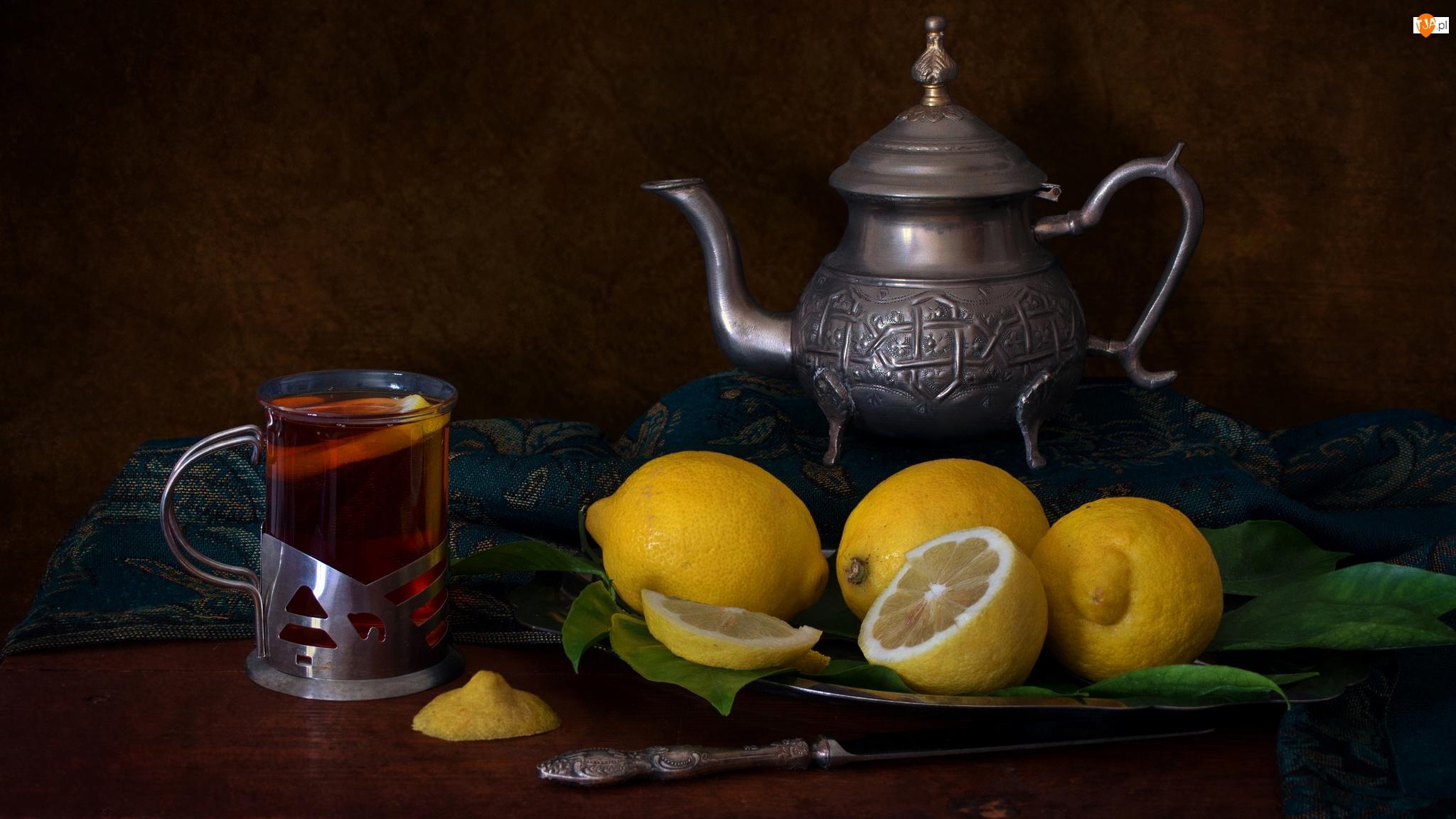 Szklanka, Cytryny, Herbata, Kompozycja, Dzbanek