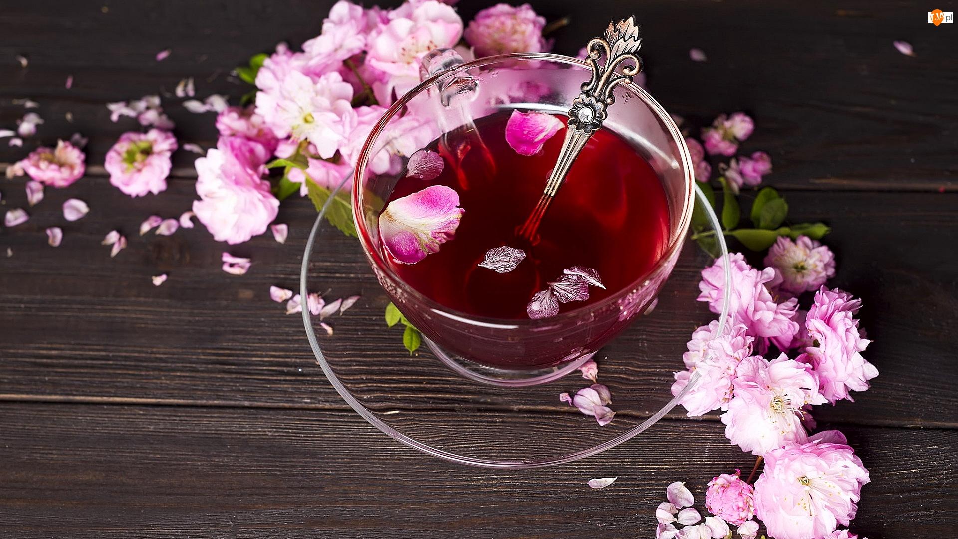 Herbata, Filiżanka, Różowe, Deski, Łyżeczka, Kwiatki