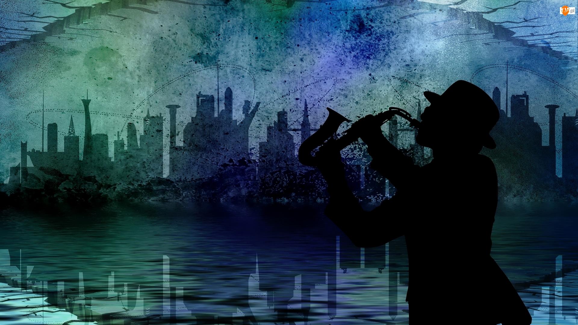 Noc, Miasto, Saksofon, 2D, Mężczyzna, Muzyka