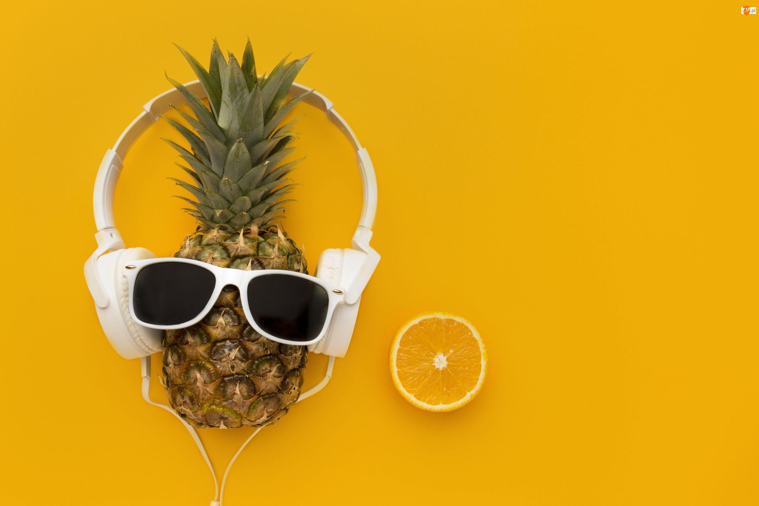 Okulary, Kompozycja, Ananas, Owoce, Słuchawki