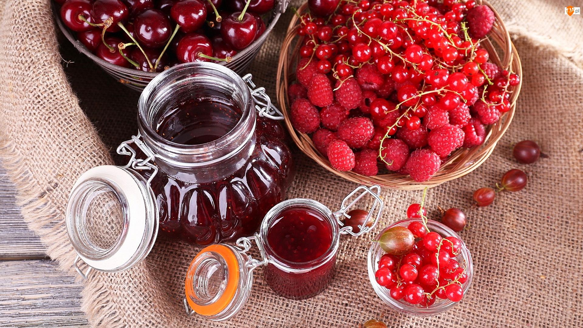 Słoiki, Dżem, Wiśnie, Porzeczki, Owoce, Maliny