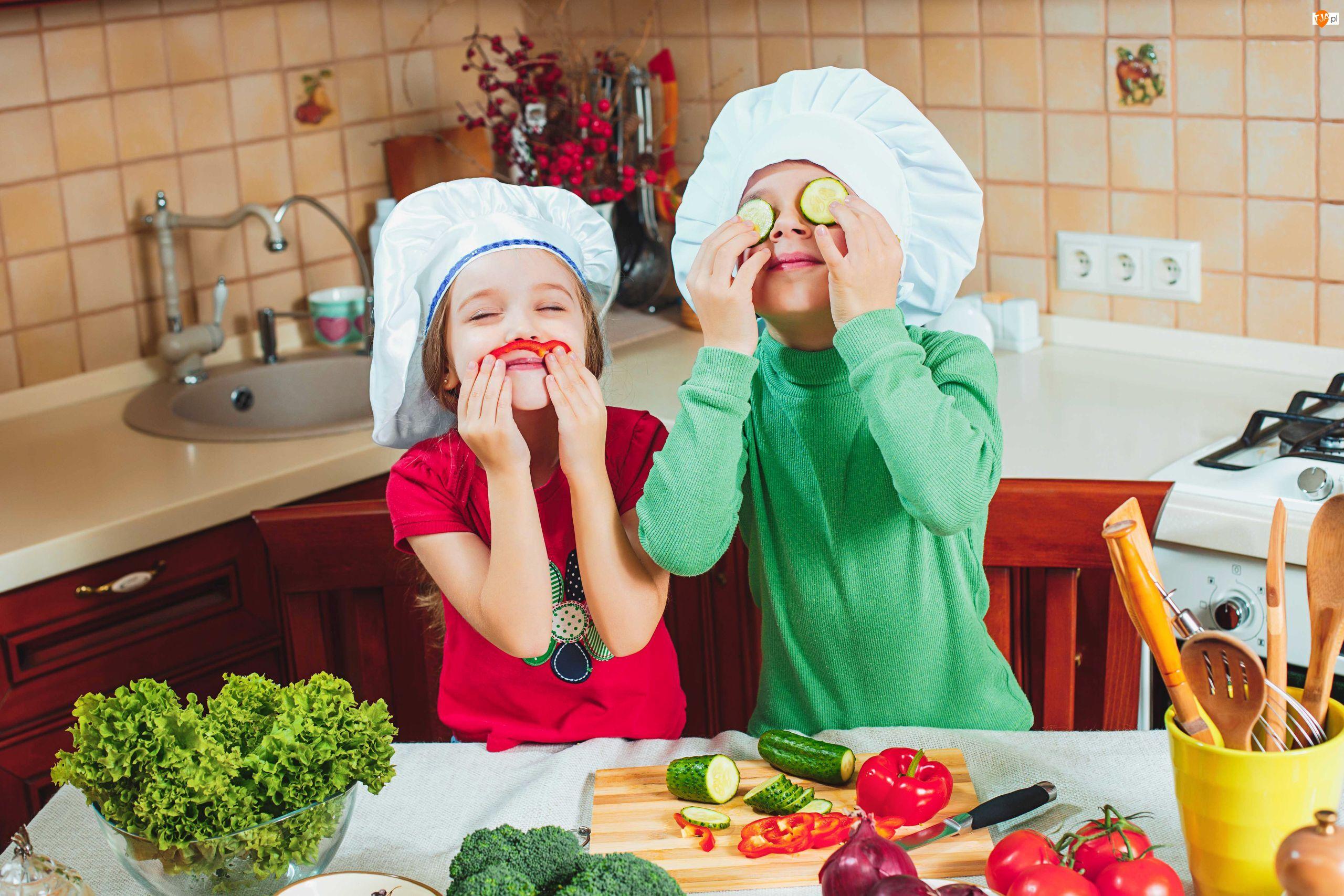 Śmieszne, Kuchnia, Dzieci, Czapki kucharskie