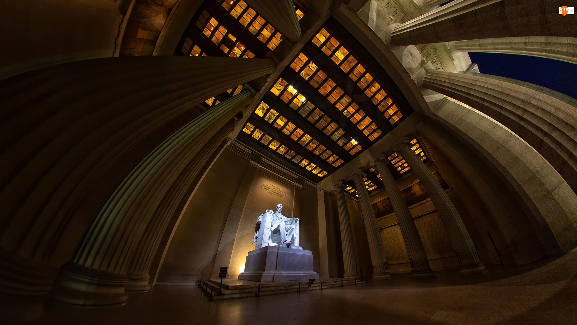 Posąg, Pomnik, Mauzoleum, Stany Zjednoczone, Abraham Lincoln, Stan Waszyngton