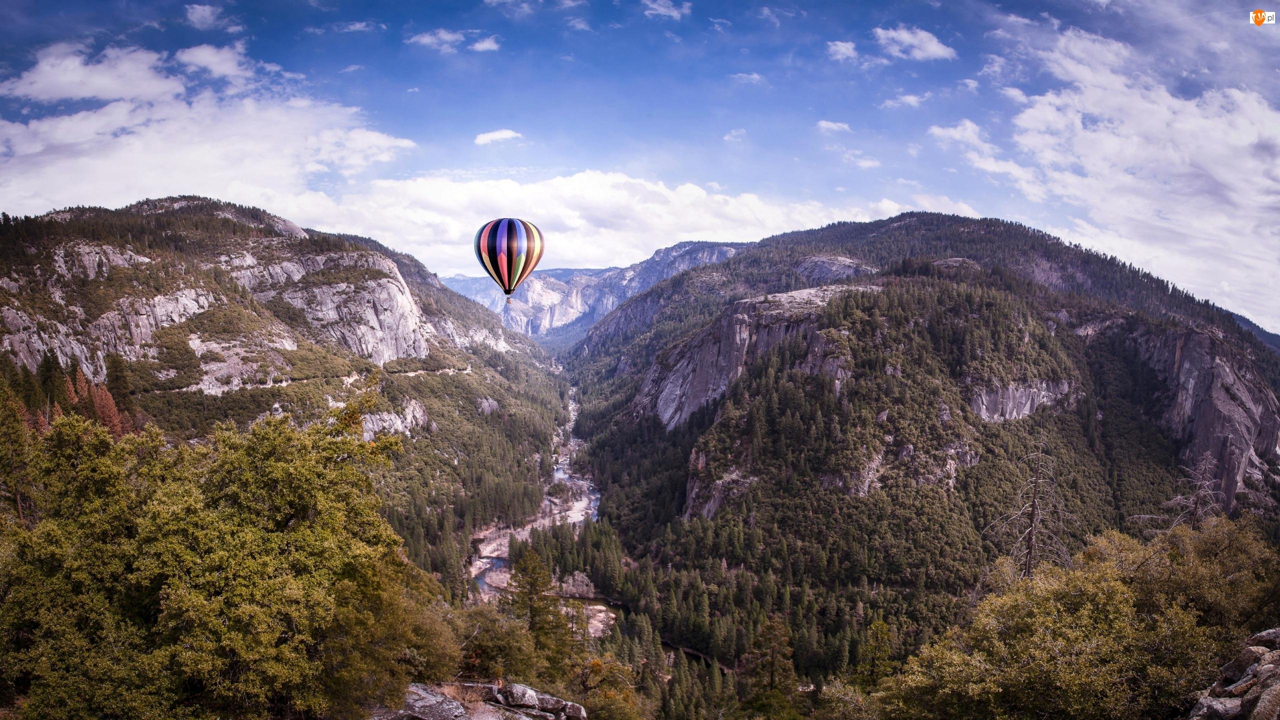 Rzeka, Stany Zjednoczone, Dolina Yosemite Valley, Merced River, Kalifornia, Góry, Balon, Park Narodowy Yosemite